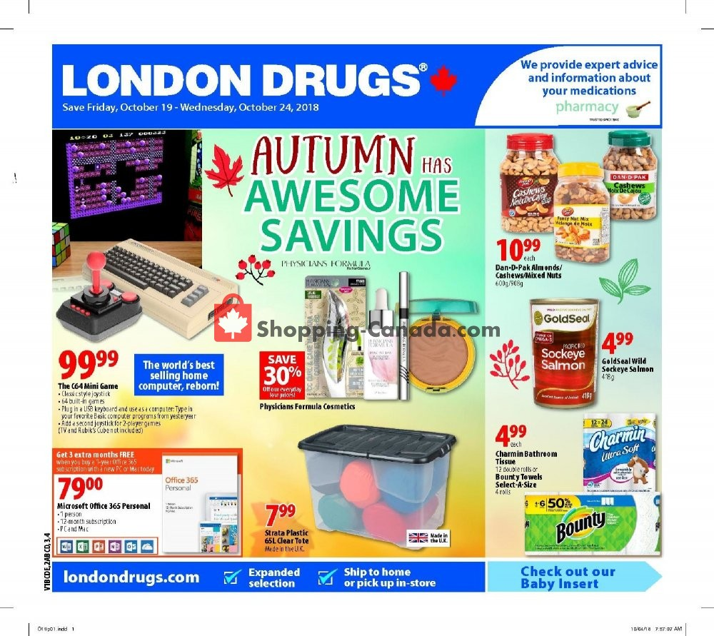 Flyer London Drugs Canada - from Friday October 19, 2018 to Wednesday October 24, 2018
