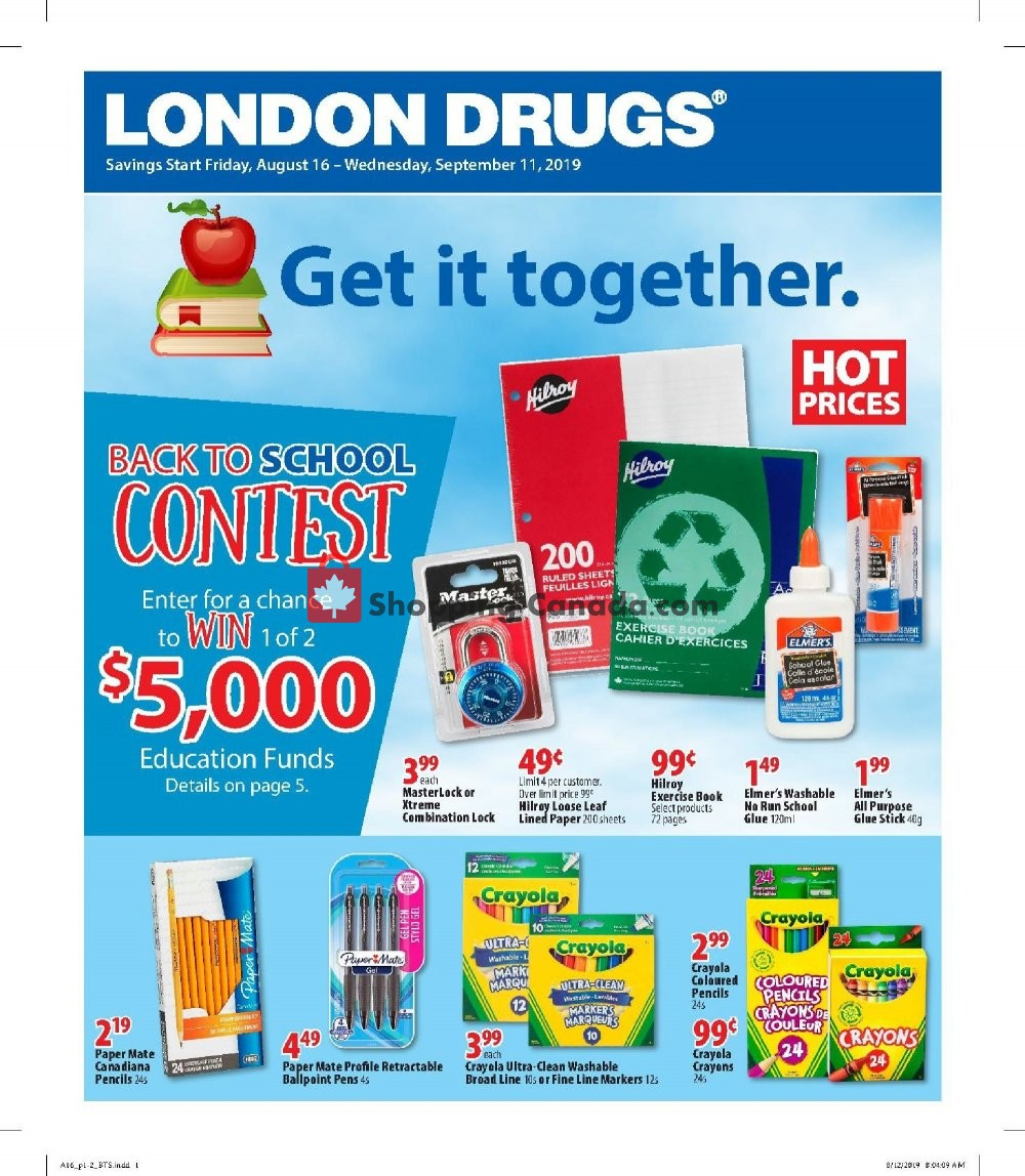 Flyer London Drugs Canada - from Friday August 16, 2019 to Wednesday September 11, 2019