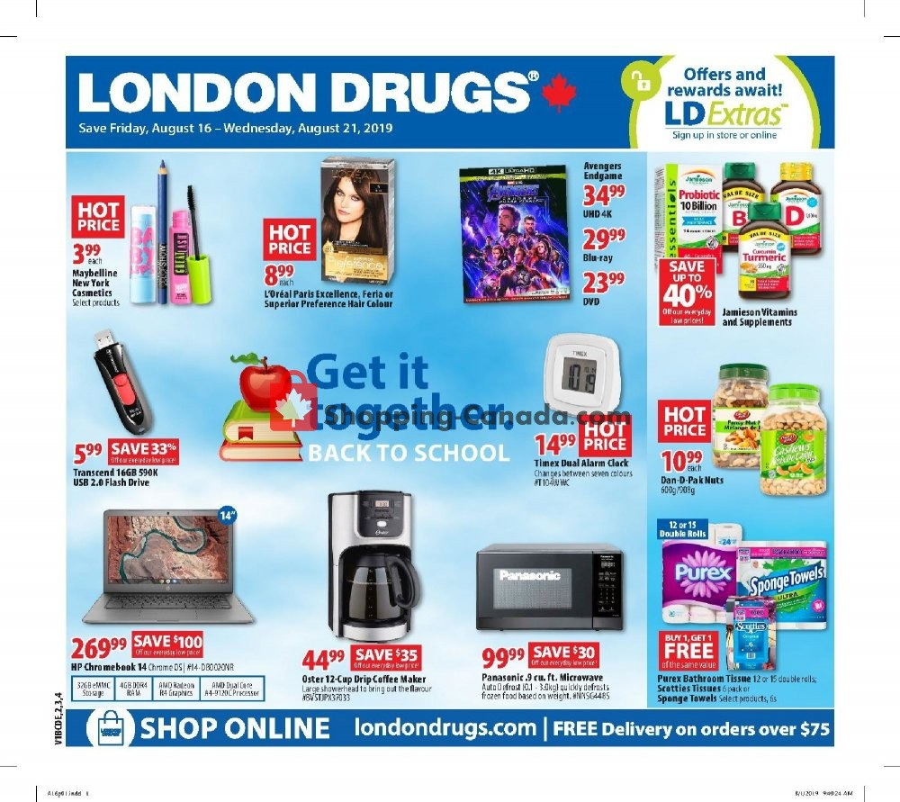 Flyer London Drugs Canada - from Friday August 16, 2019 to Wednesday August 21, 2019
