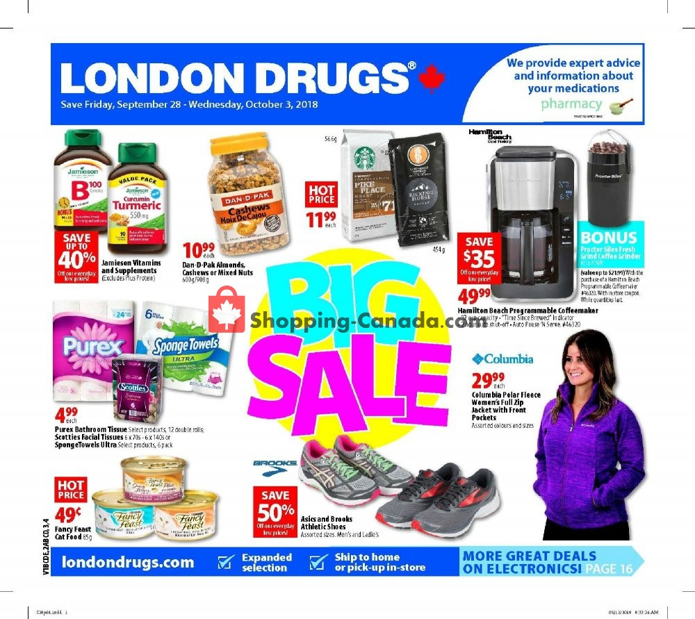 Flyer London Drugs Canada - from Friday September 28, 2018 to Wednesday October 3, 2018