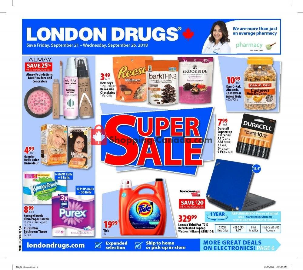 Flyer London Drugs Canada - from Friday September 21, 2018 to Wednesday September 26, 2018