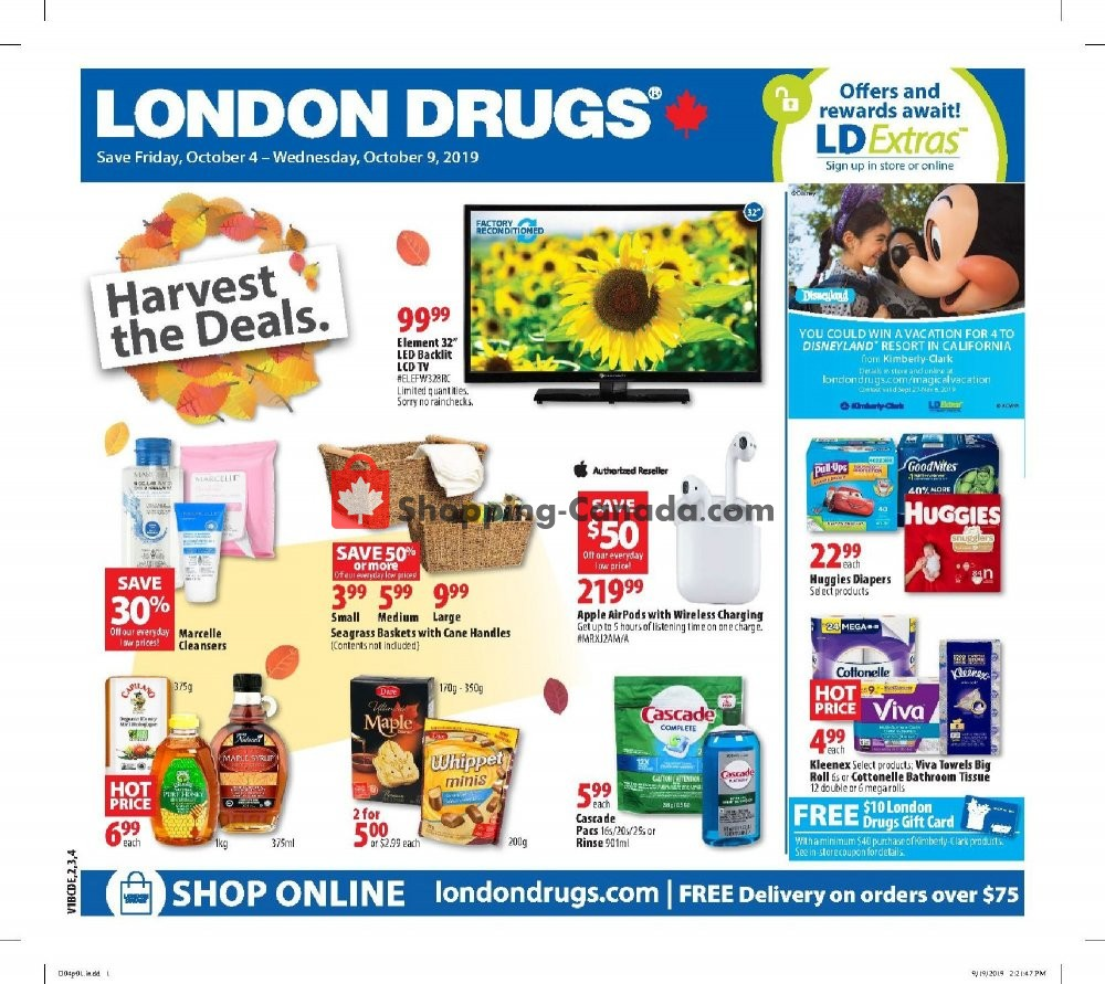 Flyer London Drugs Canada - from Friday October 4, 2019 to Wednesday October 9, 2019