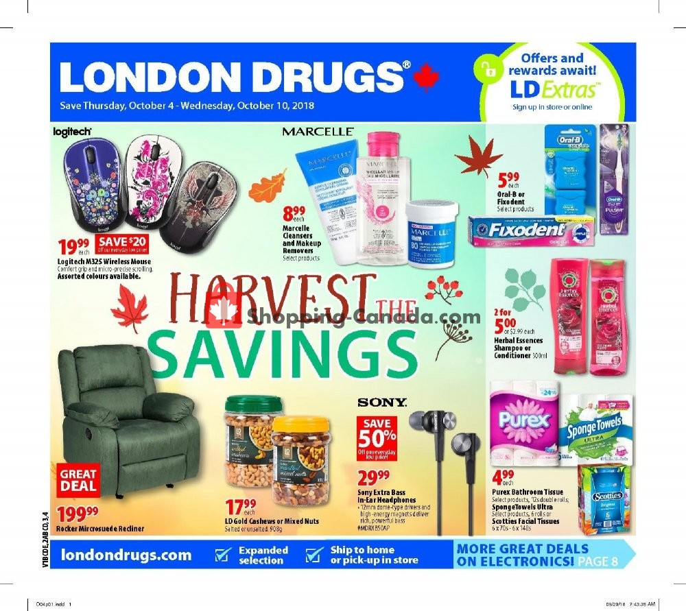 Flyer London Drugs Canada - from Thursday October 4, 2018 to Wednesday October 10, 2018