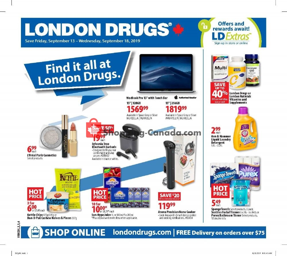 Flyer London Drugs Canada - from Friday September 13, 2019 to Wednesday September 18, 2019