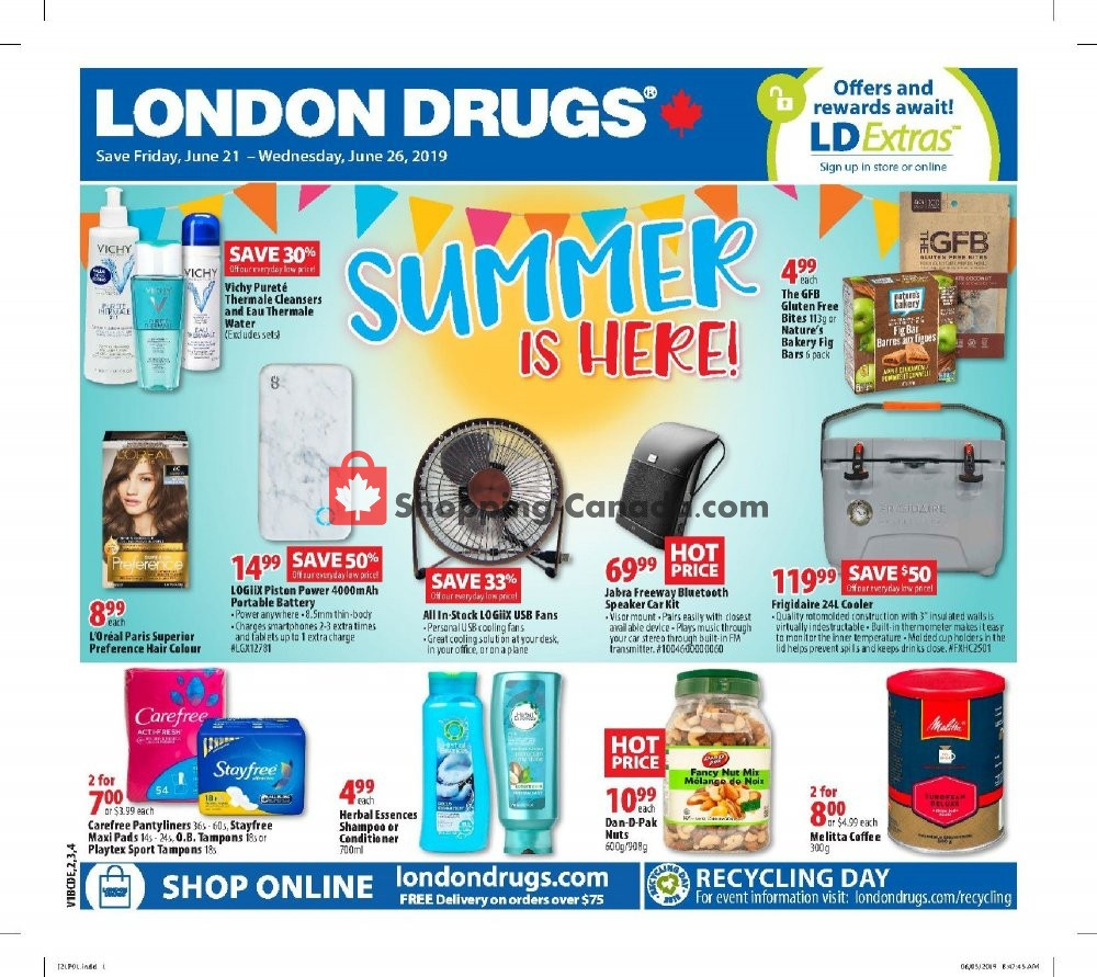 Flyer London Drugs Canada - from Friday June 21, 2019 to Wednesday June 26, 2019
