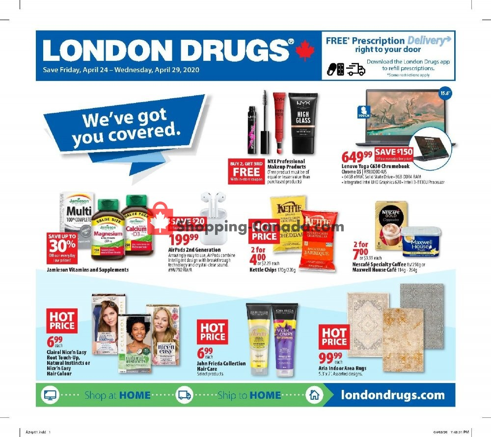 Flyer London Drugs Canada - from Friday April 24, 2020 to Wednesday April 29, 2020