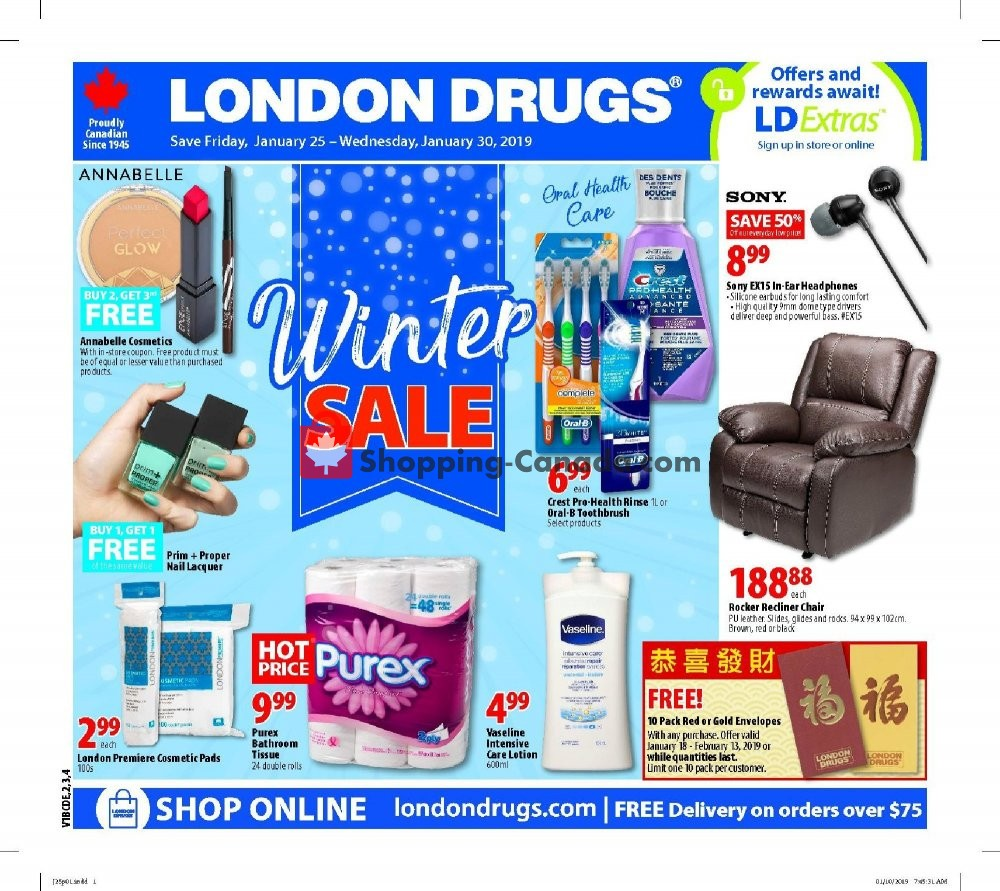 Flyer London Drugs Canada - from Friday January 25, 2019 to Wednesday January 30, 2019