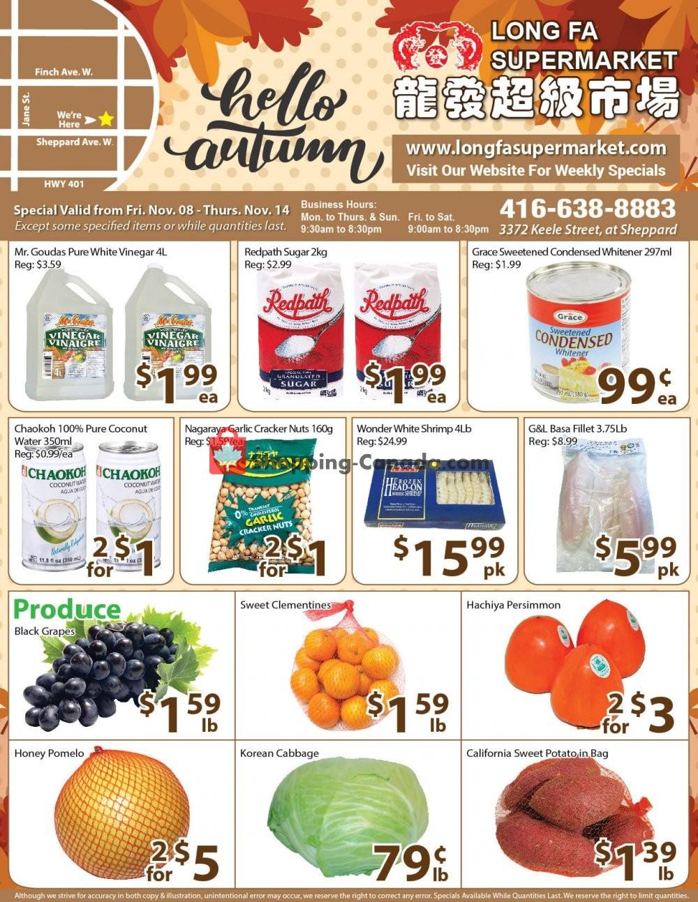 Flyer Long Fa Supermarket Canada - from Friday November 8, 2019 to Thursday November 14, 2019