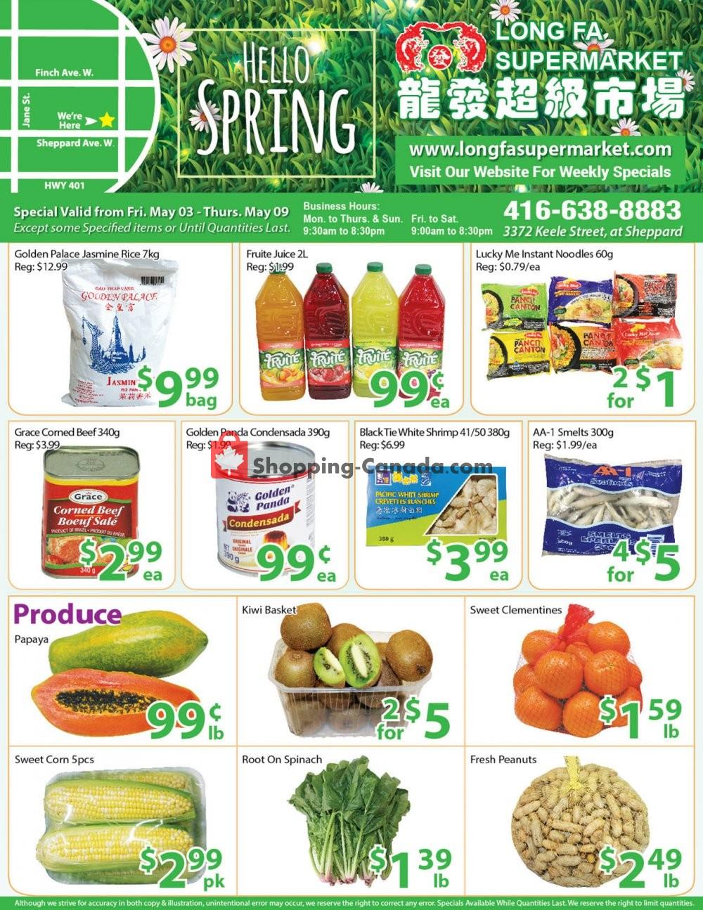 Flyer Long Fa Supermarket Canada - from Friday May 3, 2019 to Thursday May 9, 2019