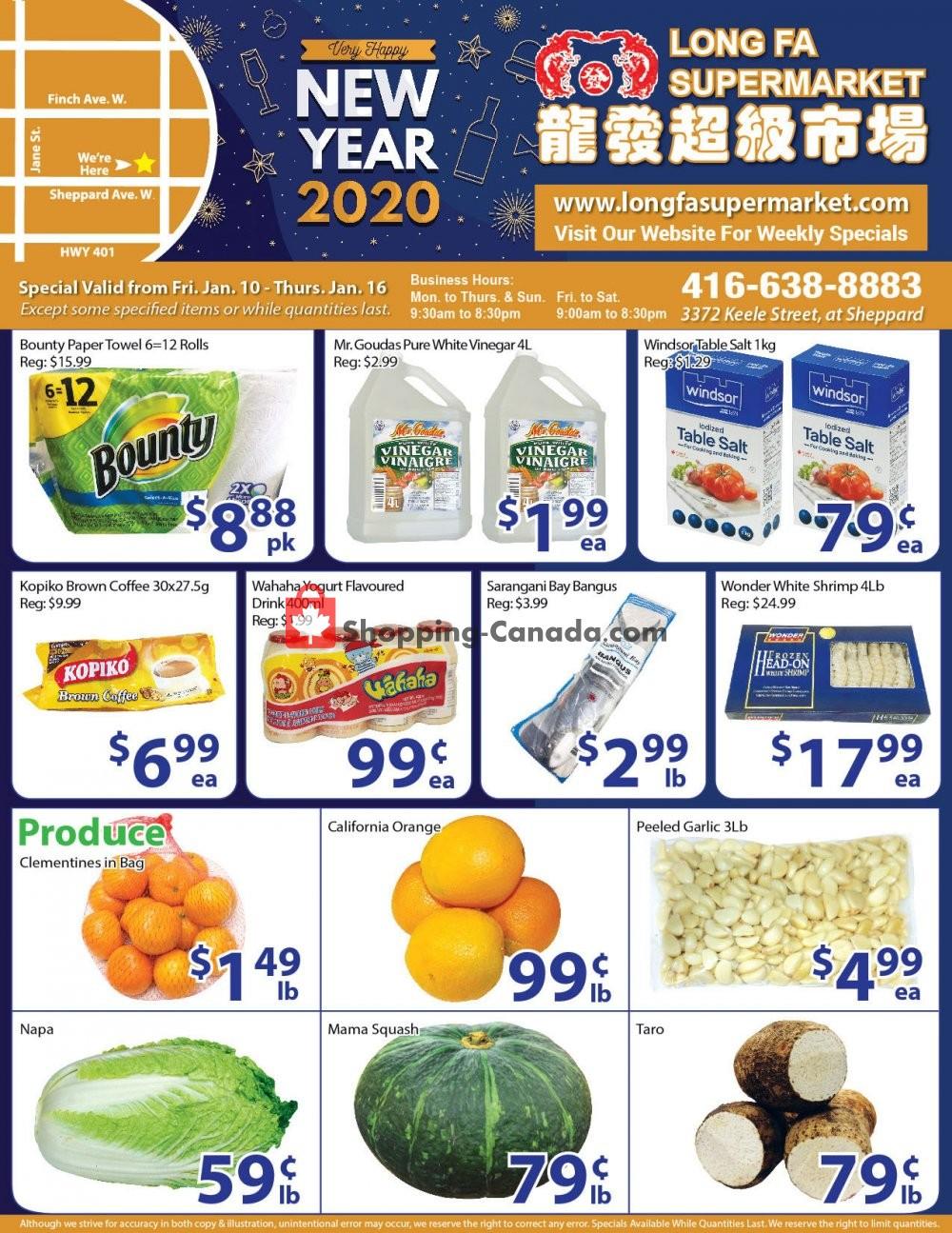Flyer Long Fa Supermarket Canada - from Friday January 10, 2020 to Thursday January 16, 2020