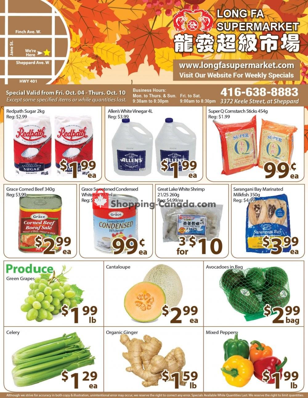 Flyer Long Fa Supermarket Canada - from Friday October 4, 2019 to Thursday October 10, 2019
