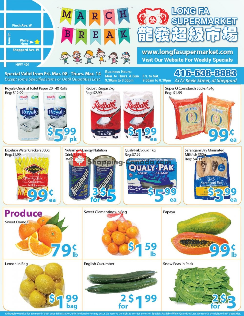 Flyer Long Fa Supermarket Canada - from Friday March 8, 2019 to Thursday March 14, 2019