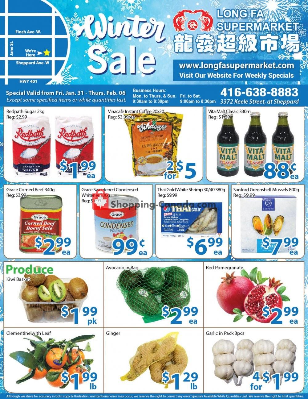 Flyer Long Fa Supermarket Canada - from Friday January 31, 2020 to Thursday February 6, 2020