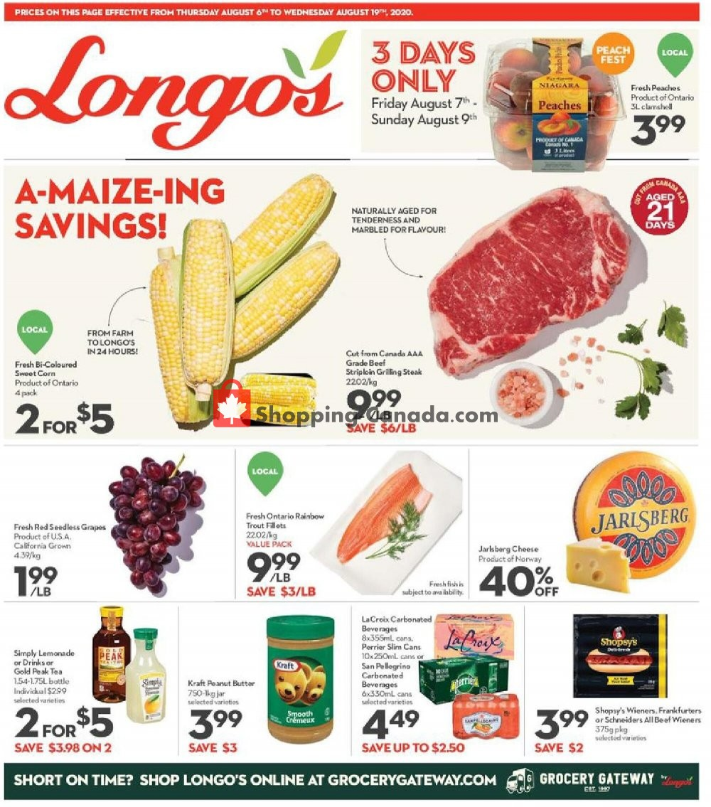 Flyer Longo's Canada - from Thursday August 6, 2020 to Wednesday August 19, 2020