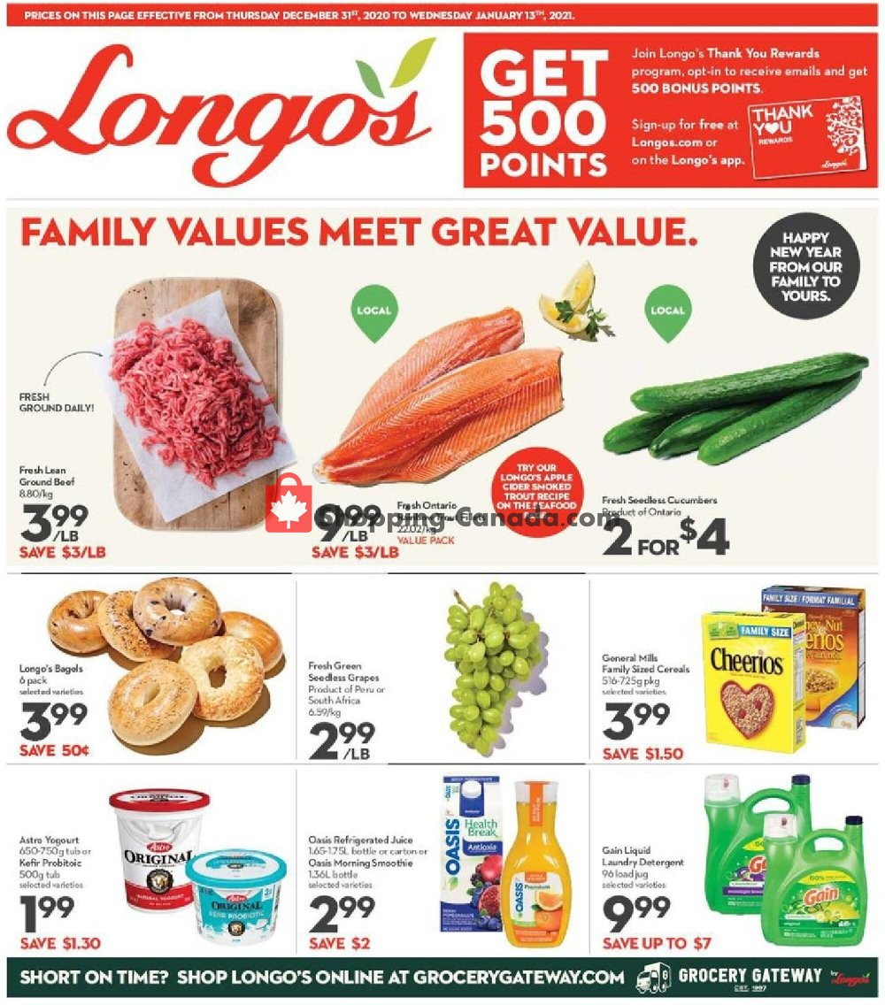 Flyer Longo's Canada - from Thursday December 31, 2020 to Wednesday January 13, 2021