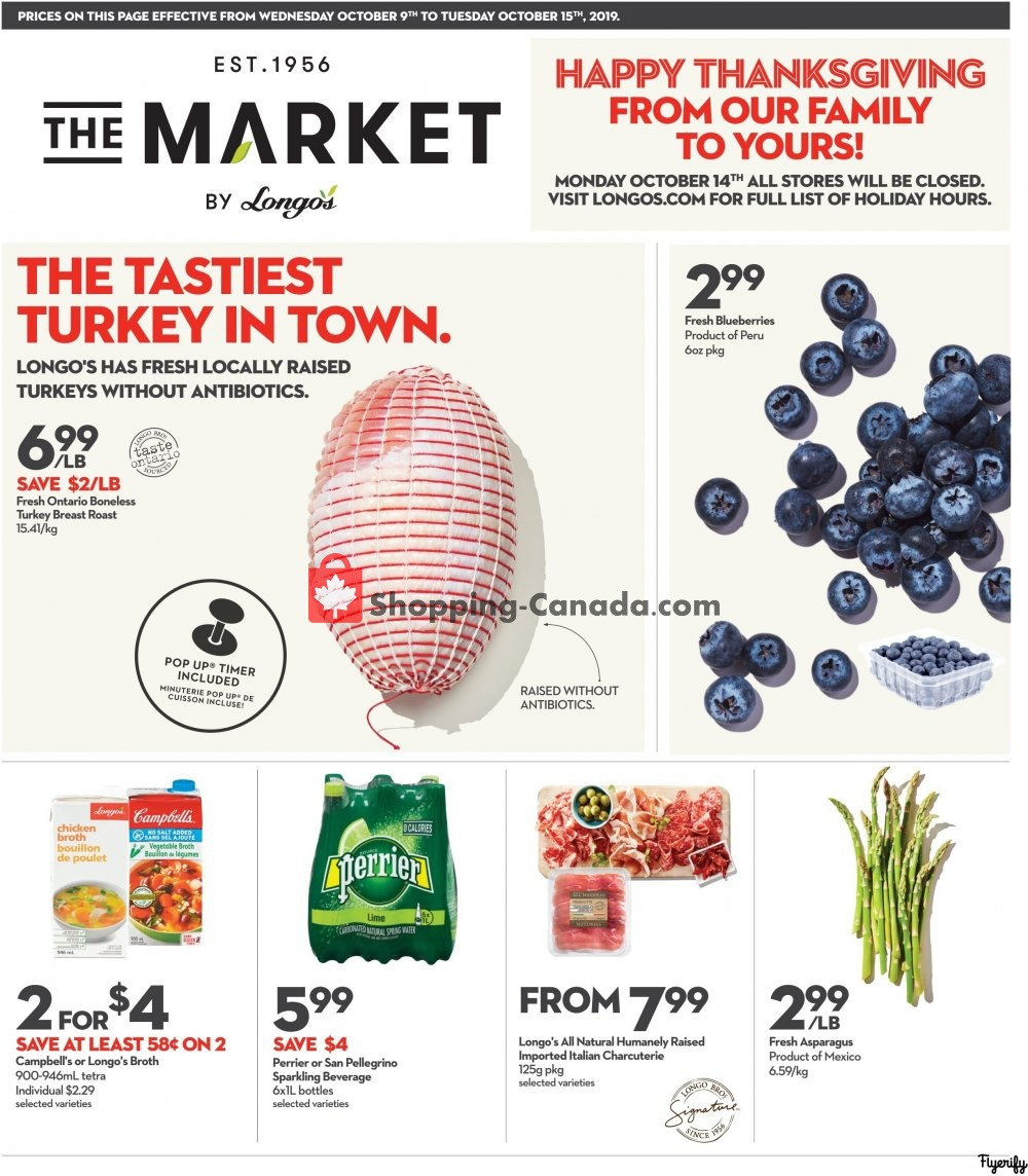 Flyer Longo's Canada - from Wednesday October 9, 2019 to Tuesday October 15, 2019
