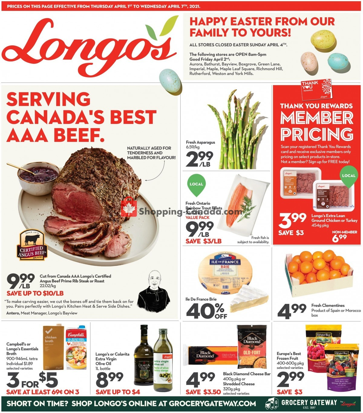Flyer Longo's Canada - from Thursday April 1, 2021 to Wednesday April 7, 2021