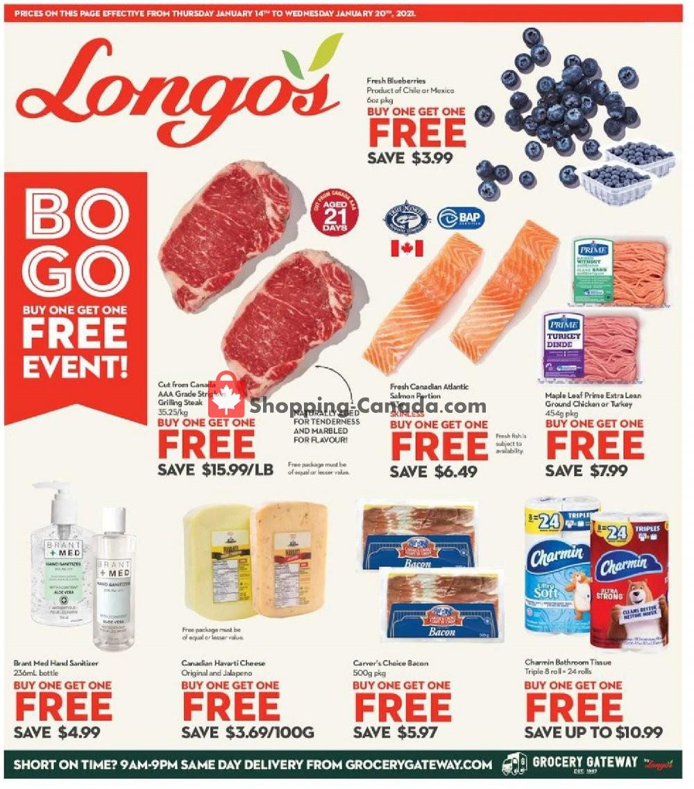 Flyer Longo's Canada - from Thursday January 14, 2021 to Wednesday January 20, 2021