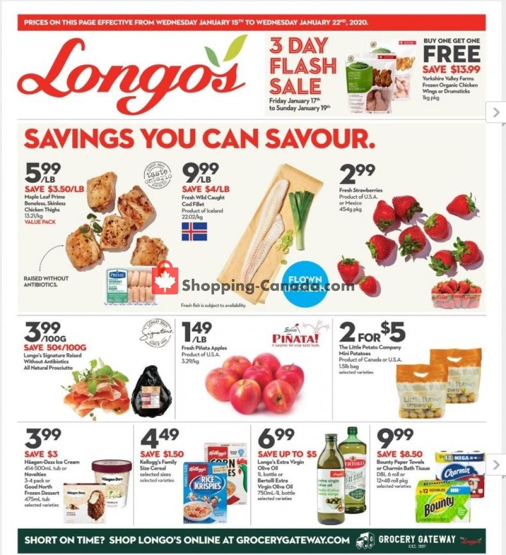 Flyer Longo's Canada - from Wednesday January 15, 2020 to Wednesday January 22, 2020