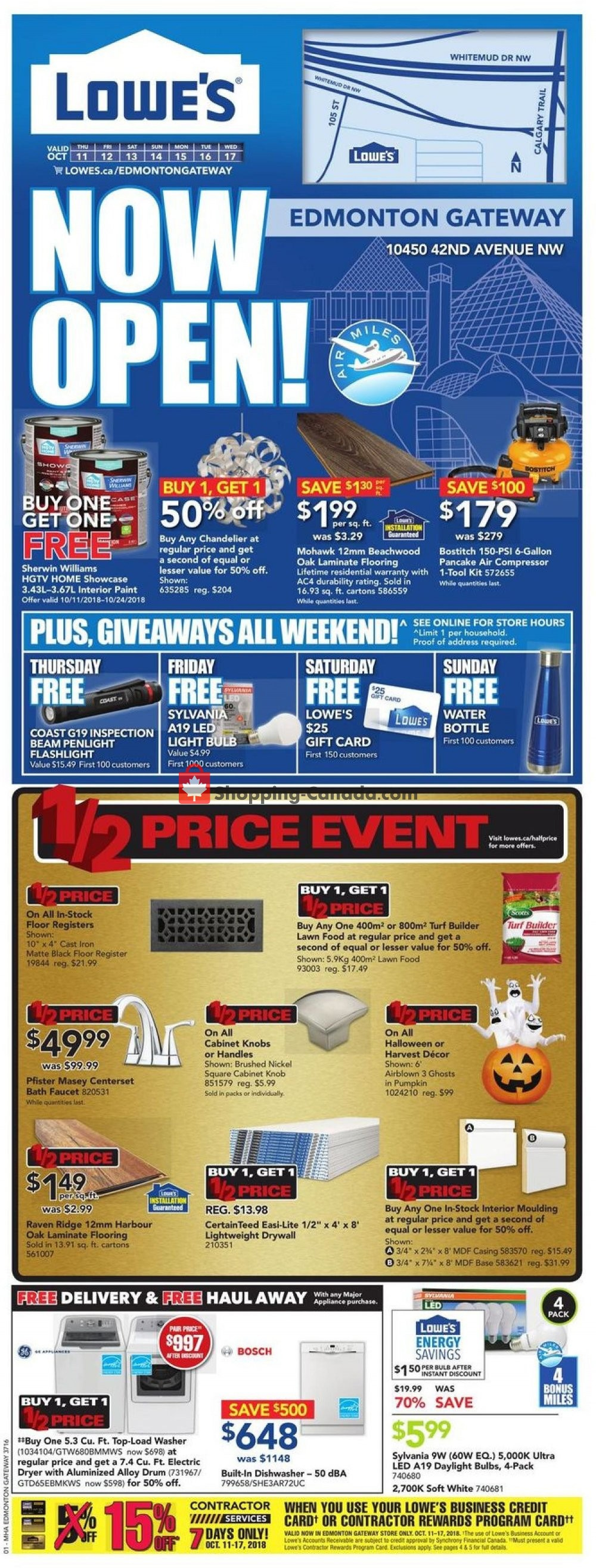 Flyer Lowe's Canada - from Thursday October 11, 2018 to Wednesday October 17, 2018