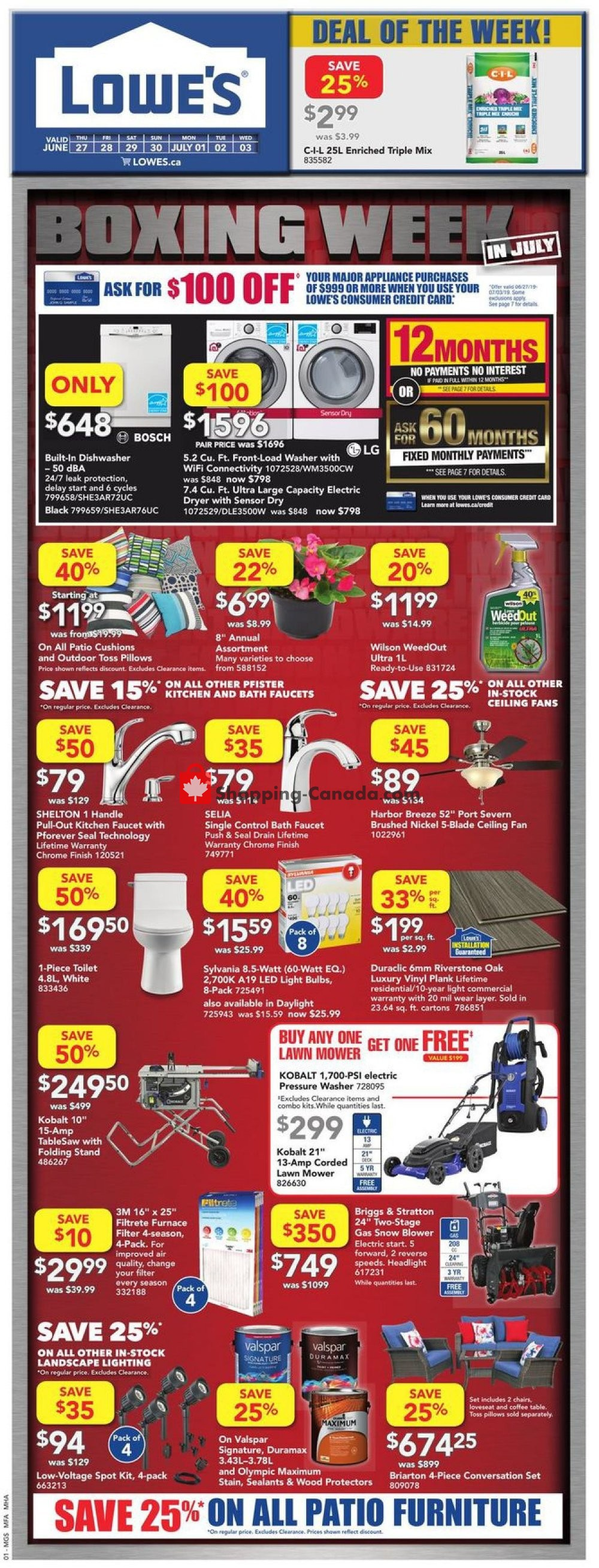 Flyer Lowe's Canada - from Thursday June 27, 2019 to Wednesday July 3, 2019