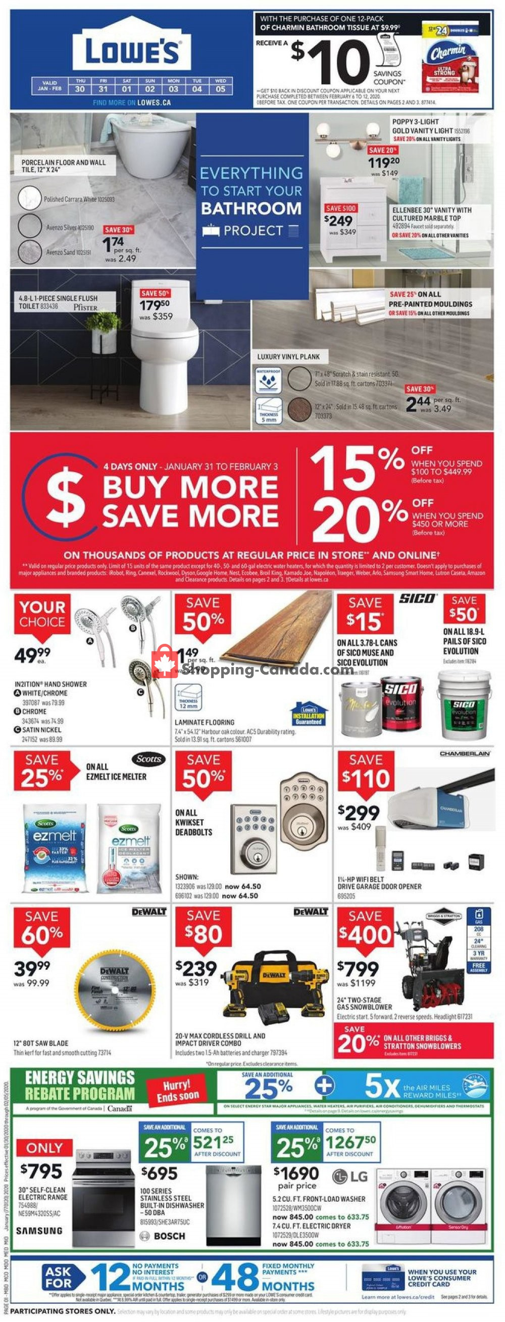 Flyer Lowe's Canada - from Thursday January 30, 2020 to Wednesday February 5, 2020