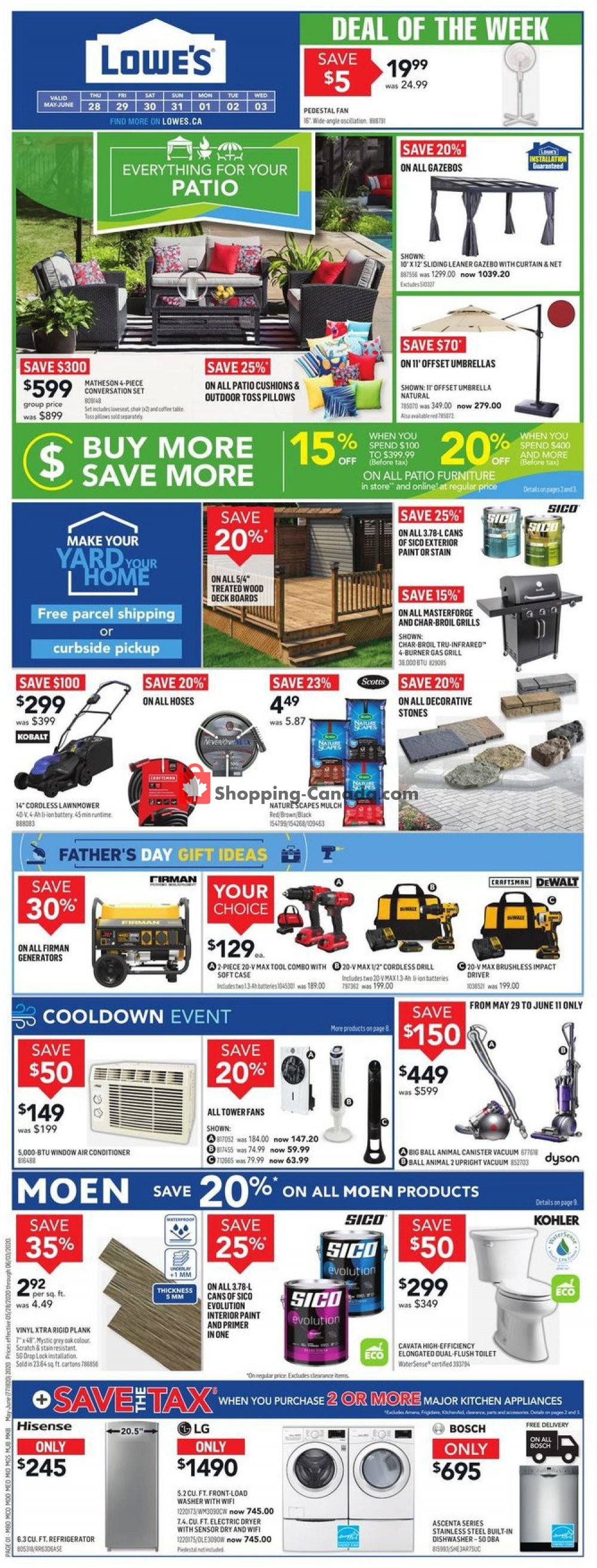 Flyer Lowe's Canada - from Thursday May 28, 2020 to Wednesday June 3, 2020