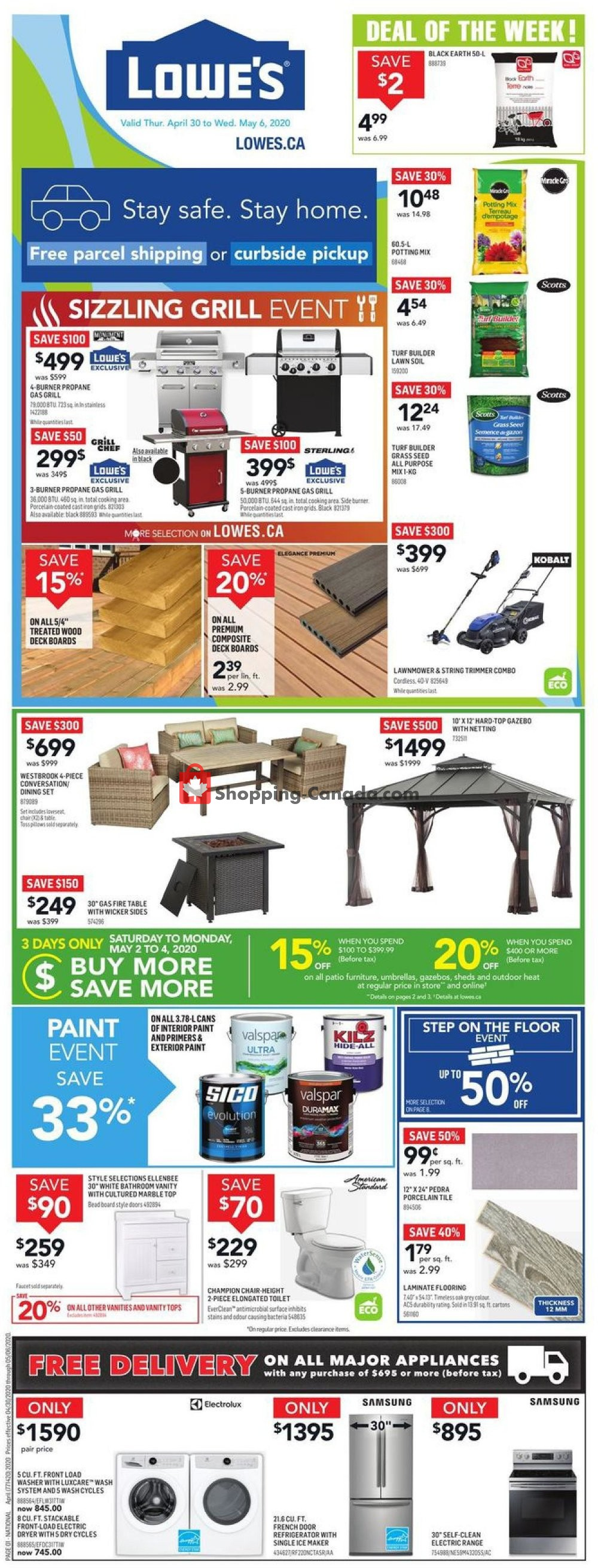 Flyer Lowe's Canada - from Thursday April 30, 2020 to Wednesday May 6, 2020