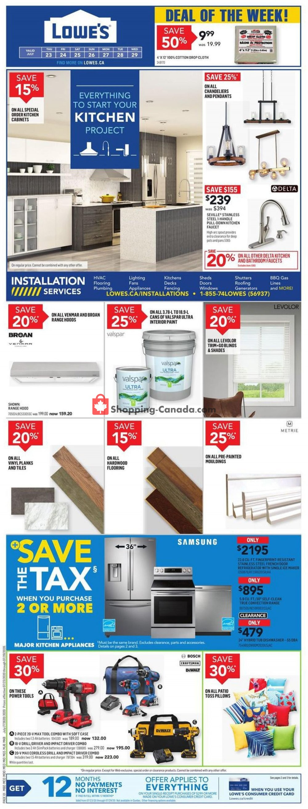 Flyer Lowe's Canada - from Thursday July 23, 2020 to Wednesday July 29, 2020