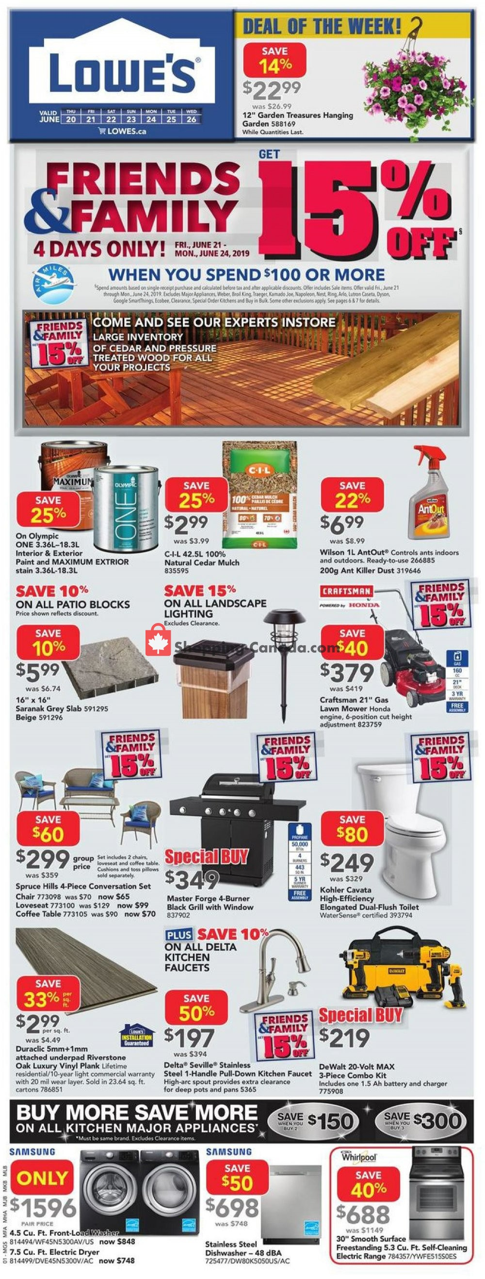 Flyer Lowe's Canada - from Thursday June 20, 2019 to Wednesday June 26, 2019