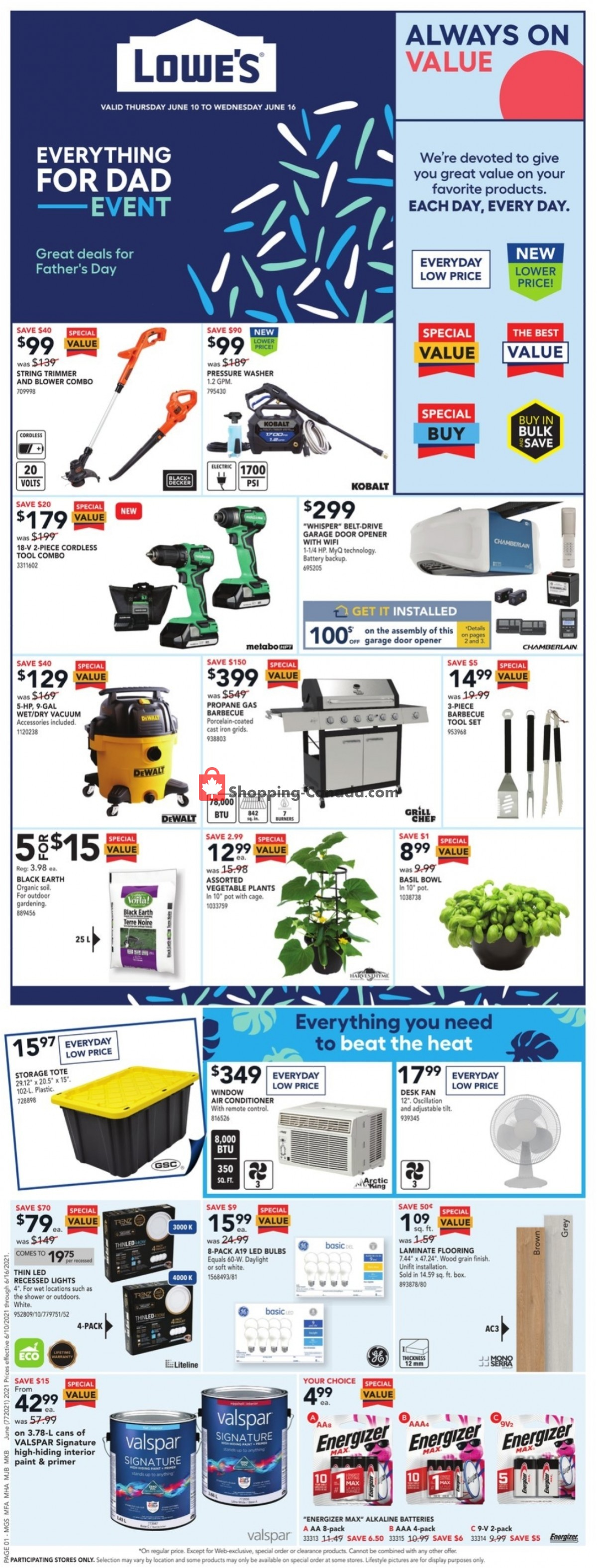 Flyer Lowe's Canada - from Thursday June 10, 2021 to Wednesday June 16, 2021