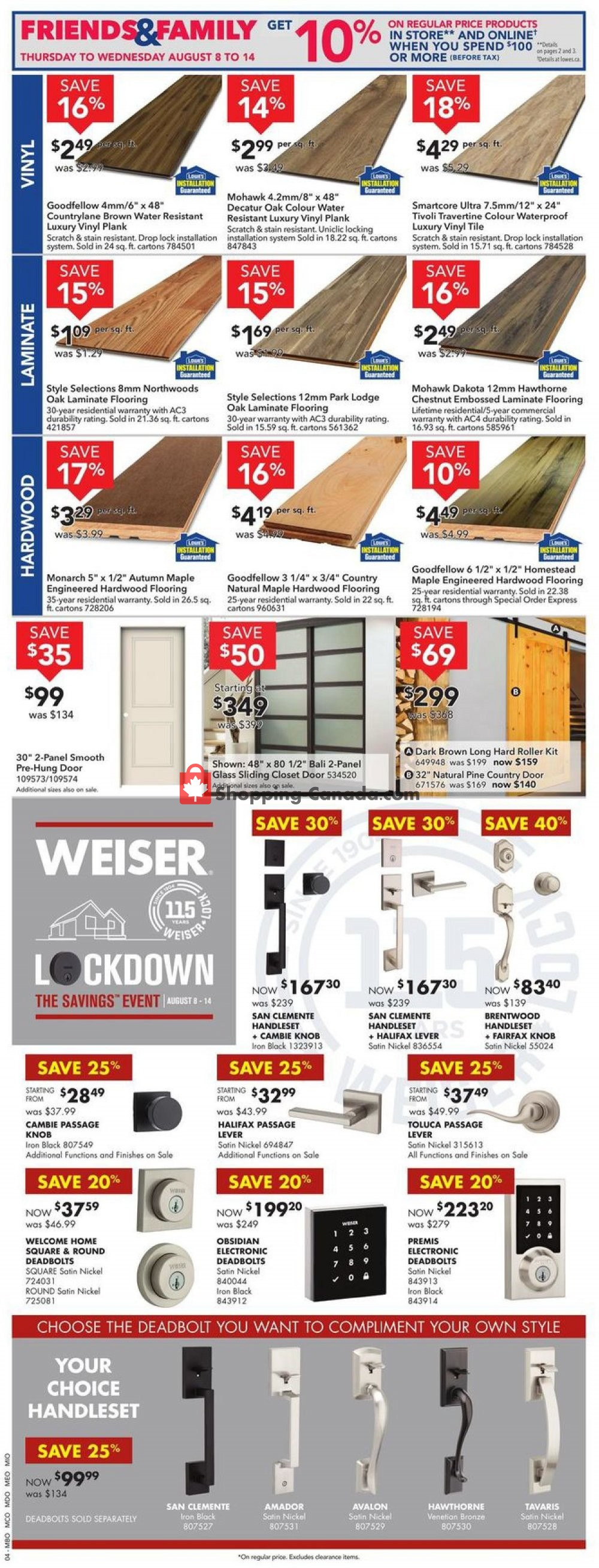 Flyer Lowe's Canada - from Thursday August 8, 2019 to Wednesday August 14, 2019
