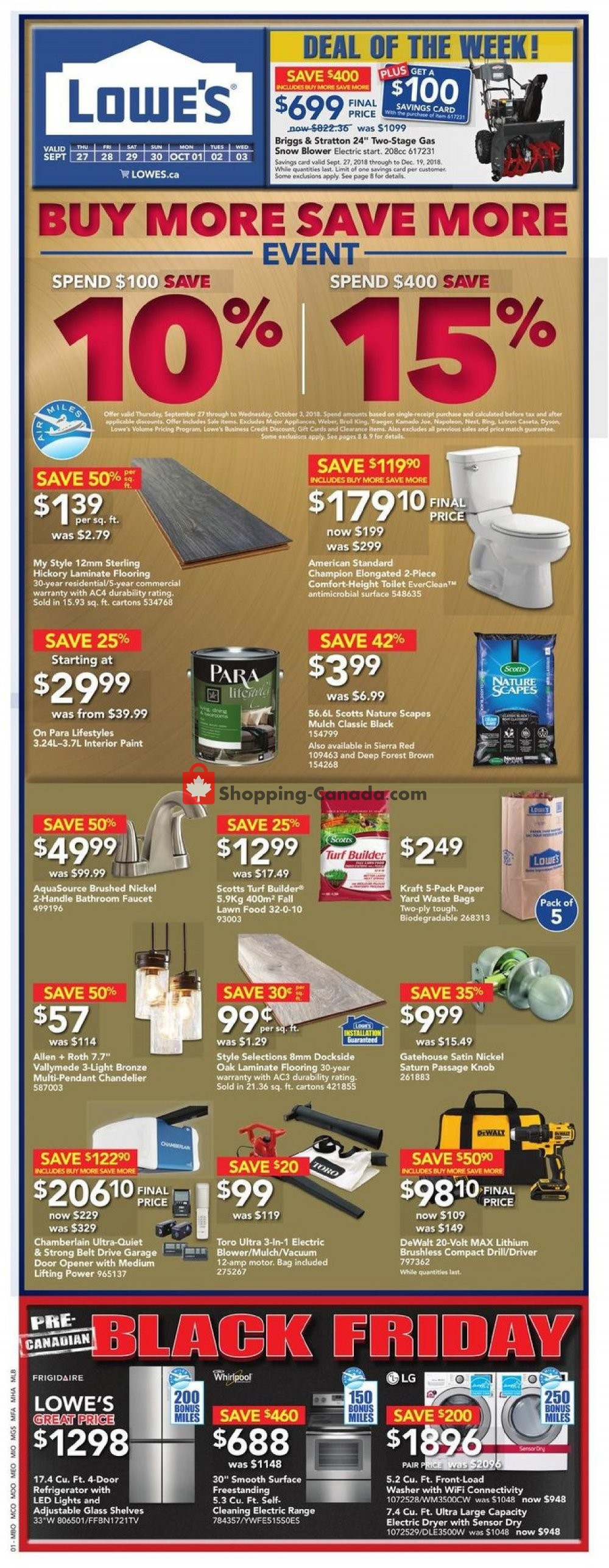 Flyer Lowe's Canada - from Thursday September 27, 2018 to Wednesday October 3, 2018