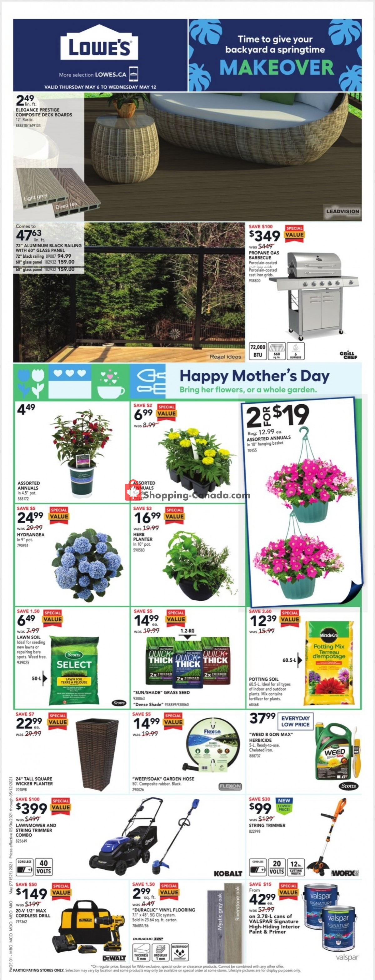 Flyer Lowe's Canada - from Thursday May 6, 2021 to Wednesday May 12, 2021