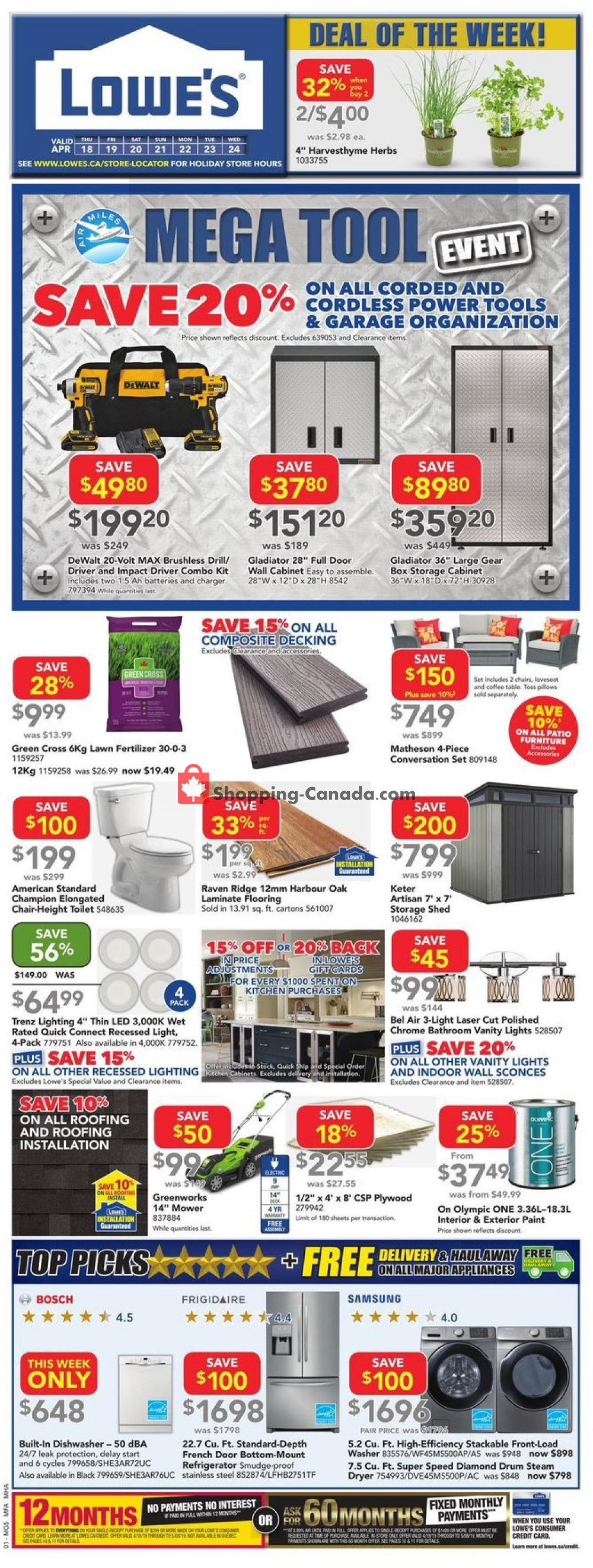 Flyer Lowe's Canada - from Thursday April 18, 2019 to Wednesday April 24, 2019