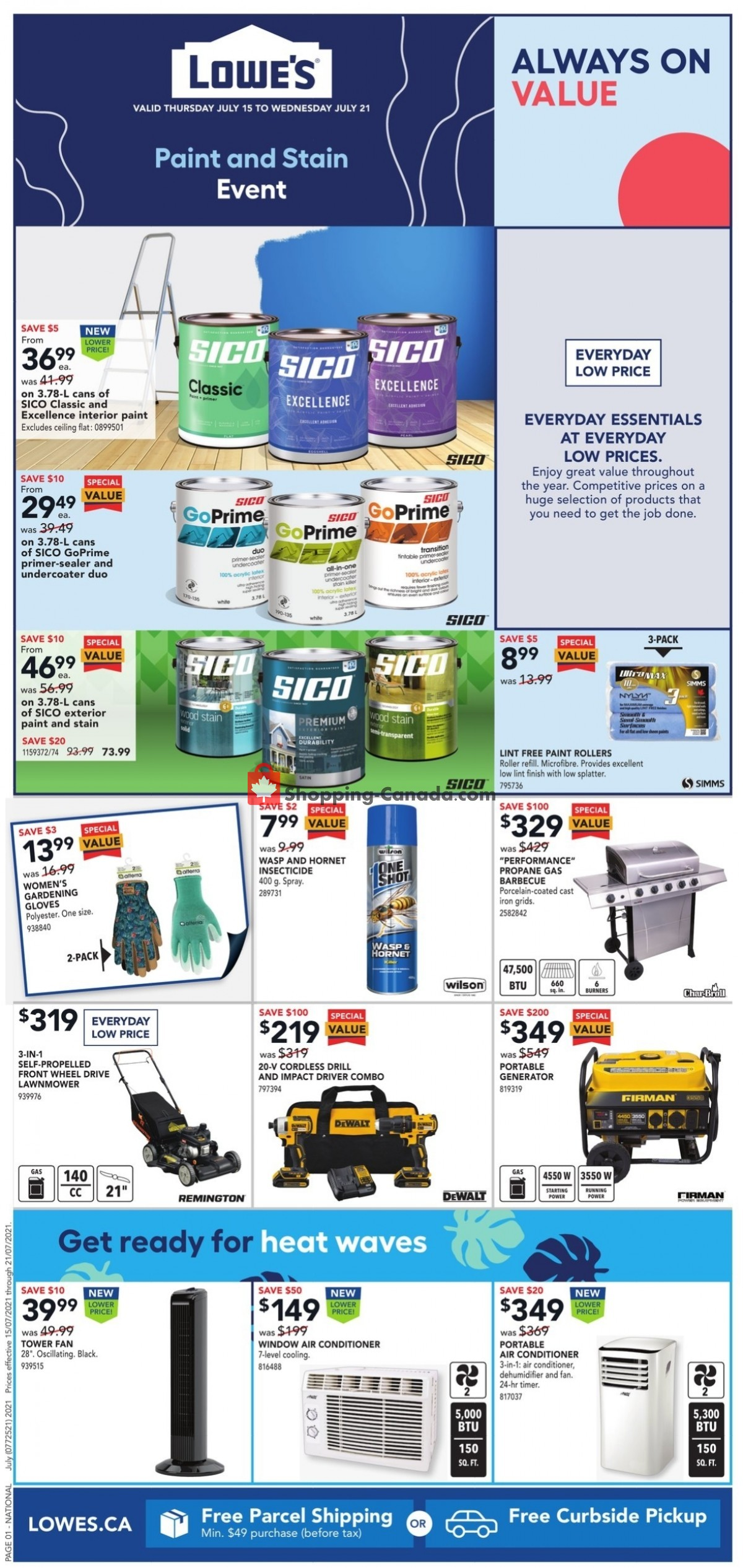Flyer Lowe's Canada - from Thursday July 15, 2021 to Wednesday July 21, 2021
