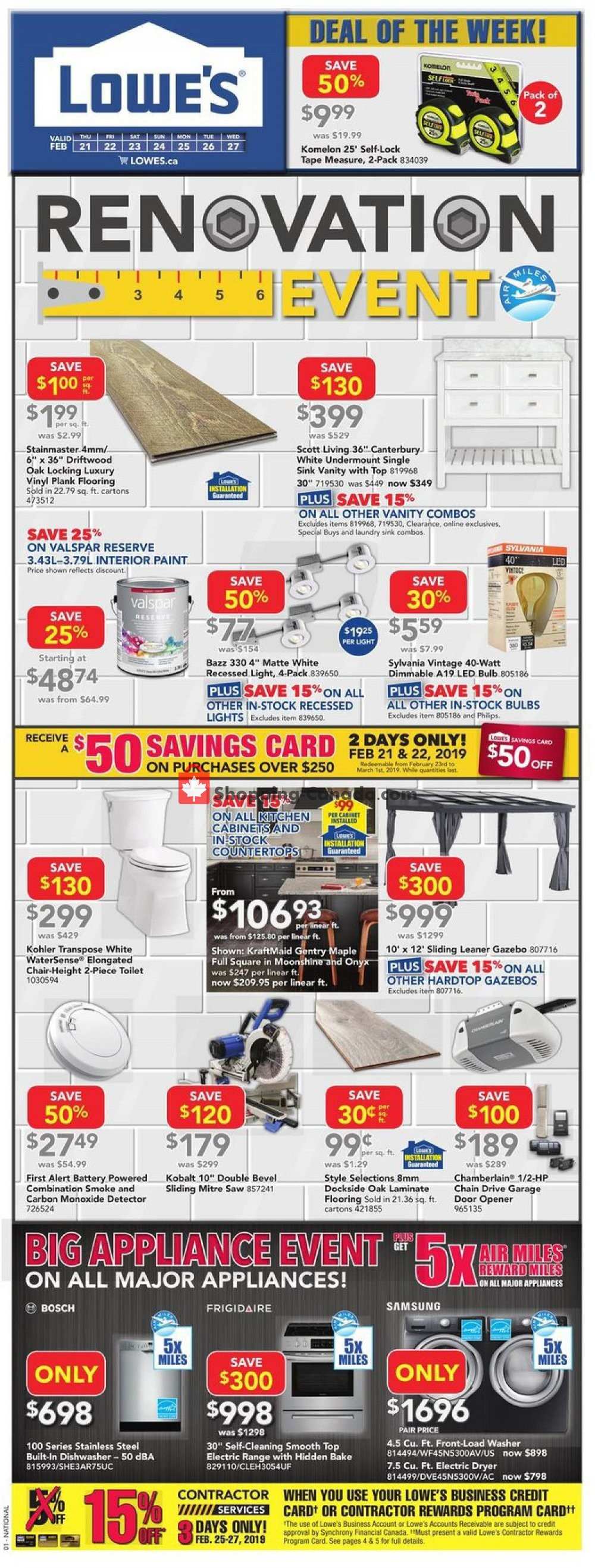 Flyer Lowe's Canada - from Thursday February 21, 2019 to Wednesday February 27, 2019