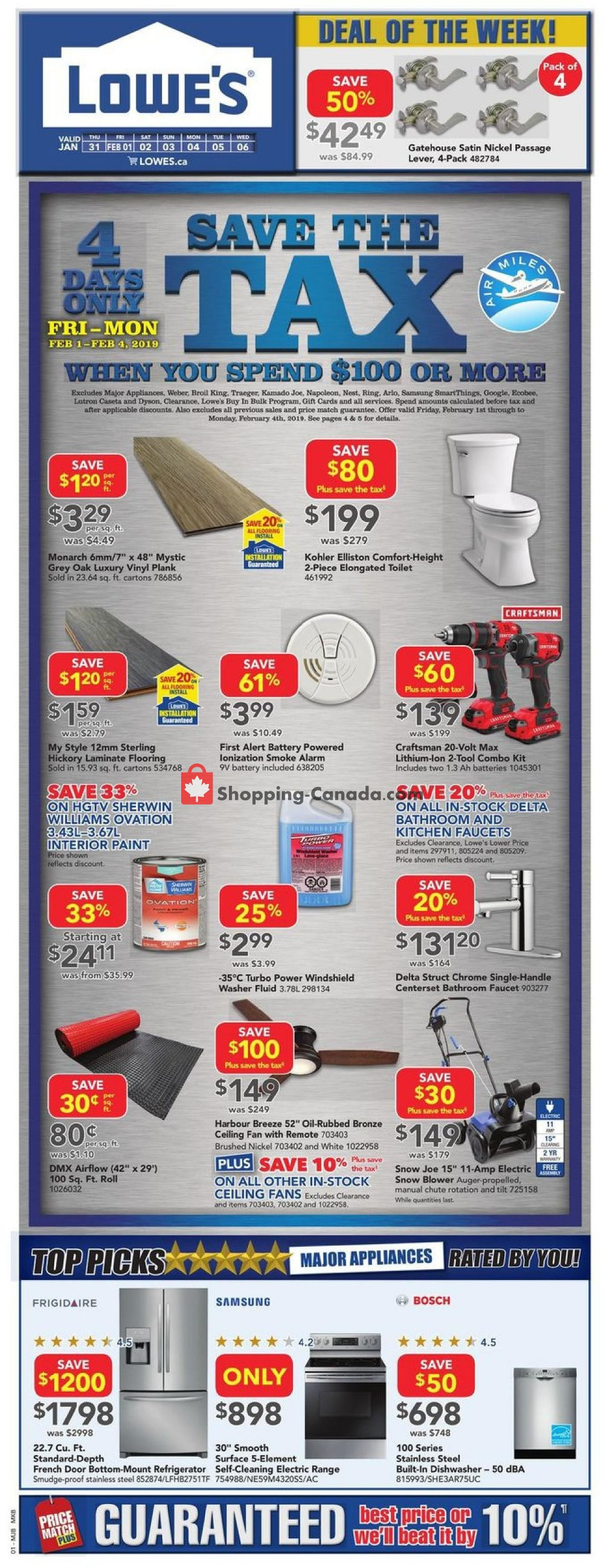 Flyer Lowe's Canada - from Thursday January 31, 2019 to Wednesday February 6, 2019