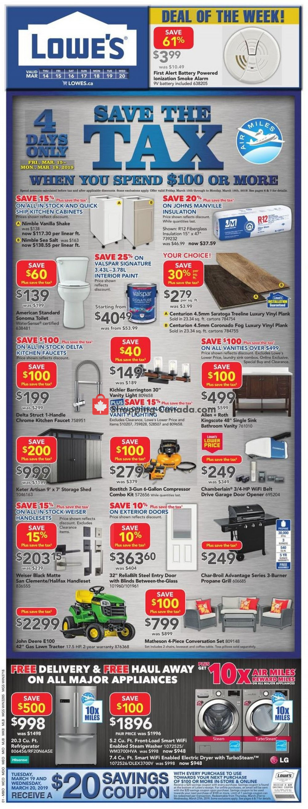 Flyer Lowe's Canada - from Thursday March 14, 2019 to Wednesday March 20, 2019