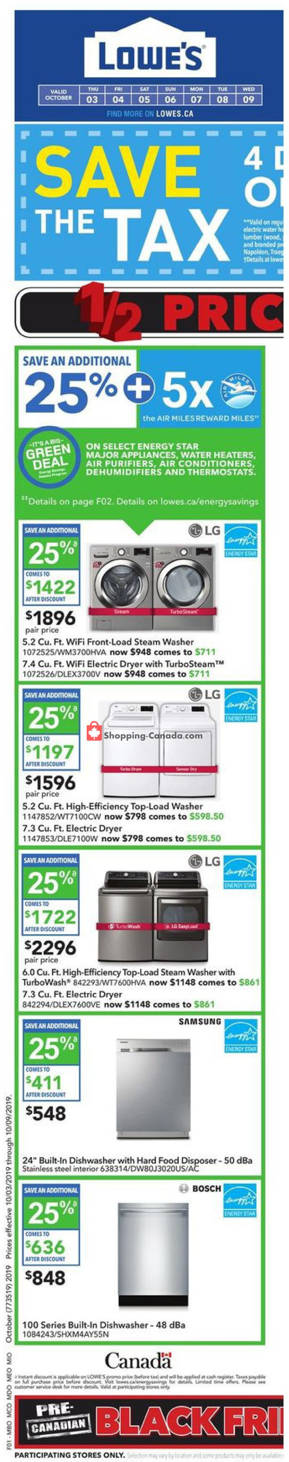 Flyer Lowe's Canada - from Thursday October 3, 2019 to Wednesday October 9, 2019