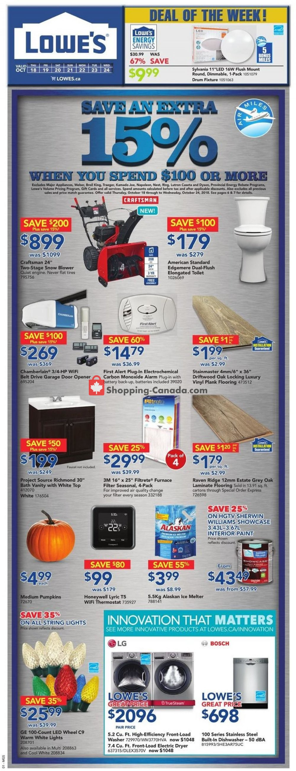 Flyer Lowe's Canada - from Thursday October 18, 2018 to Wednesday October 24, 2018
