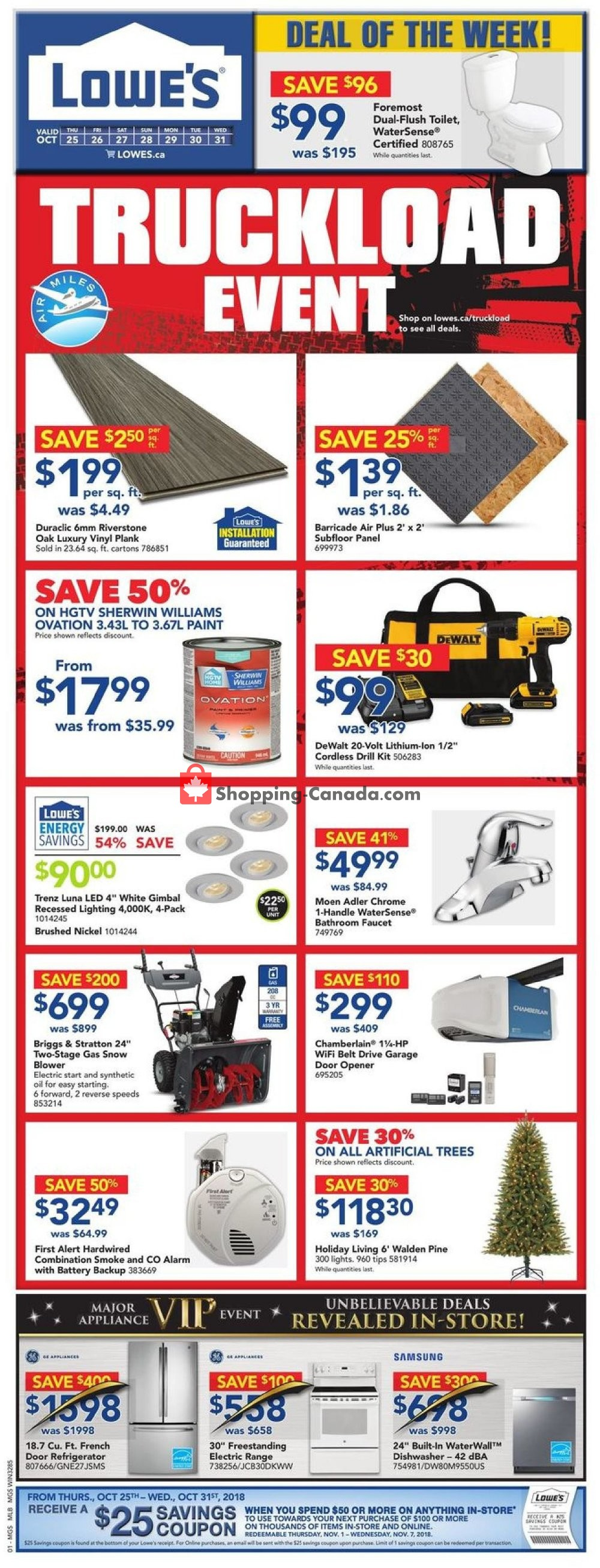 Flyer Lowe's Canada - from Thursday October 25, 2018 to Wednesday October 31, 2018