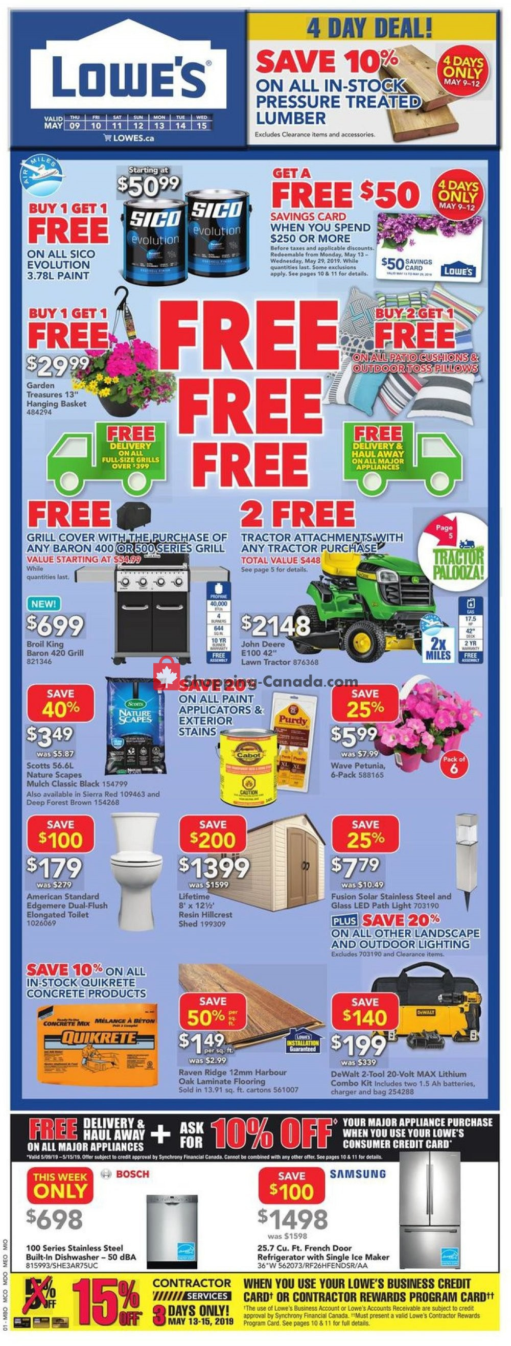 Flyer Lowe's Canada - from Thursday May 9, 2019 to Wednesday May 15, 2019