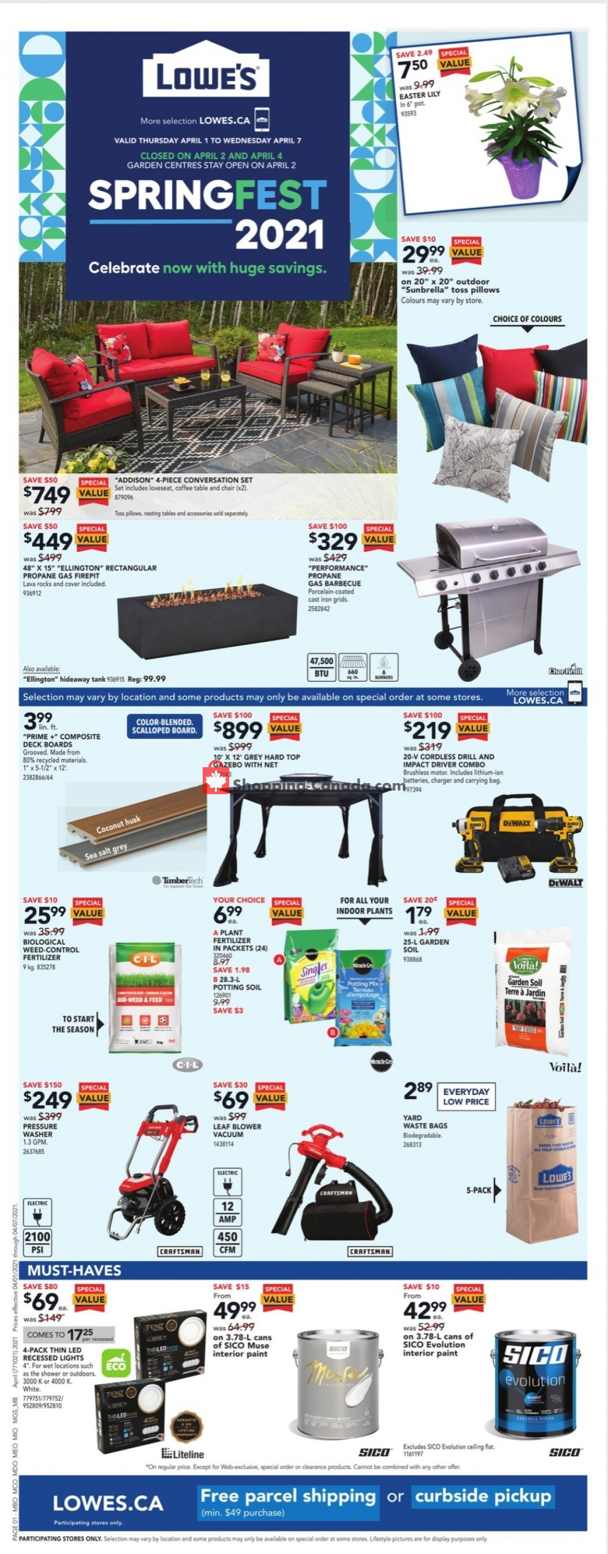 Flyer Lowe's Canada - from Thursday April 1, 2021 to Wednesday April 7, 2021