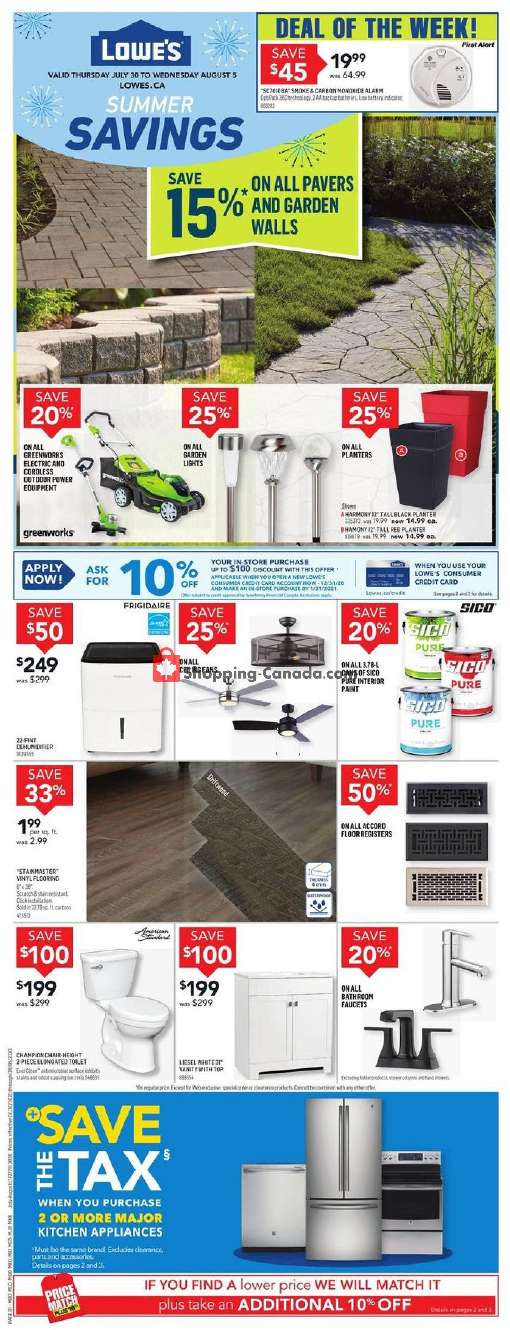 Flyer Lowe's Canada - from Thursday July 30, 2020 to Wednesday August 5, 2020