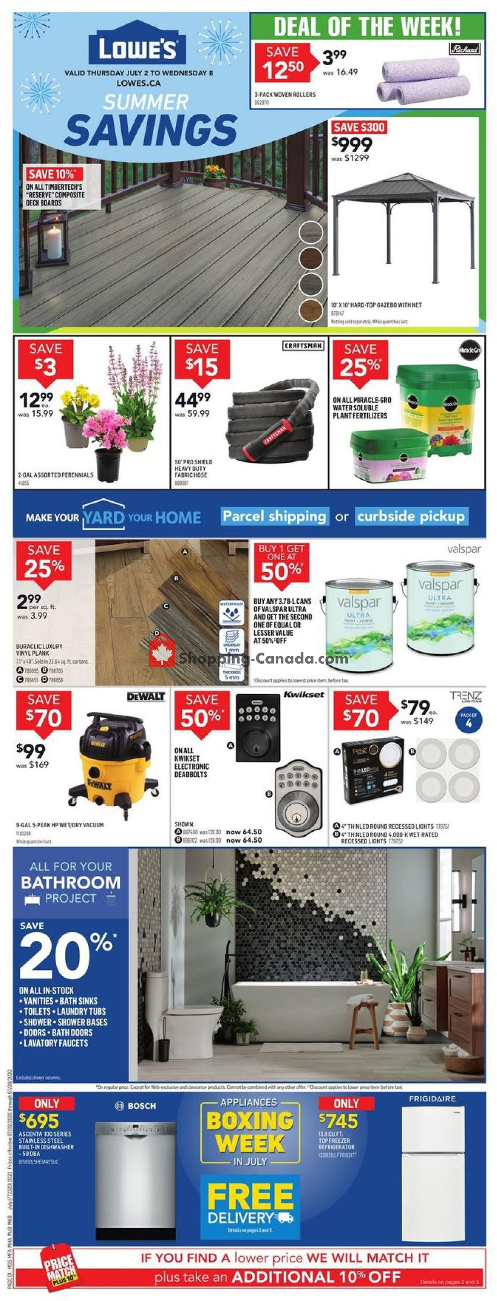 Flyer Lowe's Canada - from Thursday July 2, 2020 to Wednesday July 8, 2020