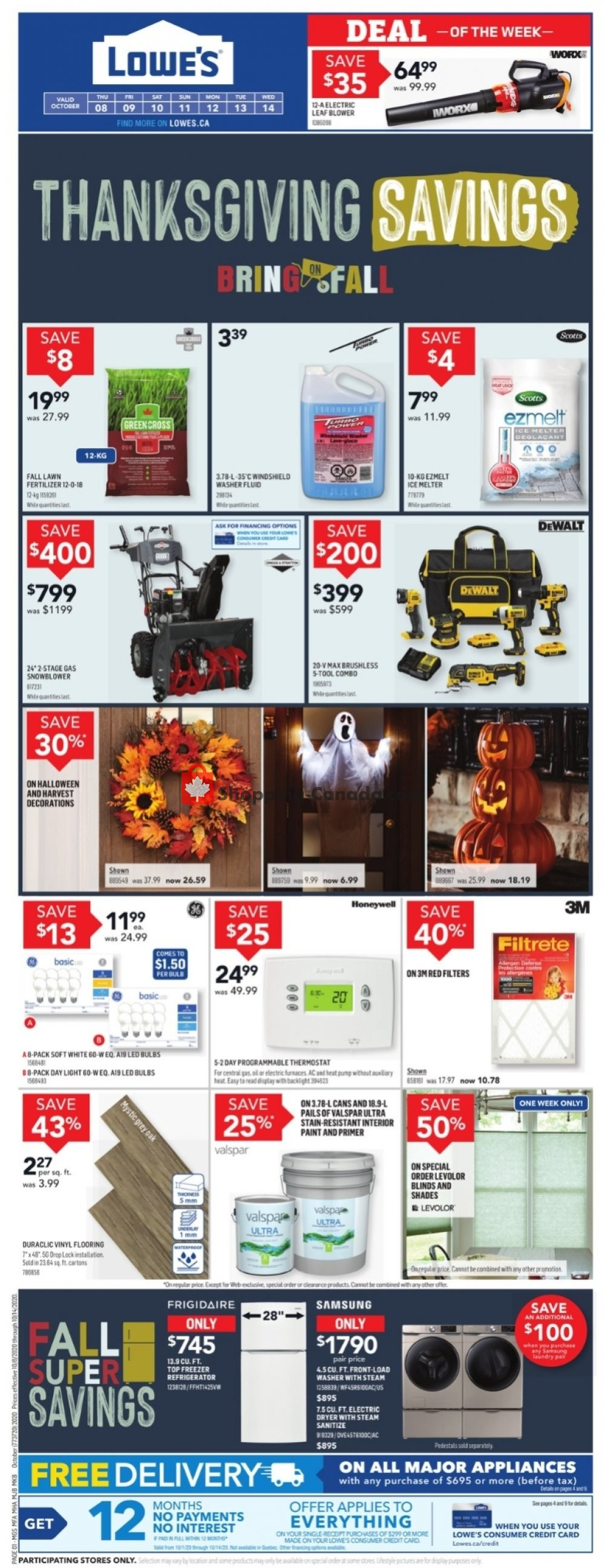 Flyer Lowe's Canada - from Thursday October 8, 2020 to Wednesday October 14, 2020