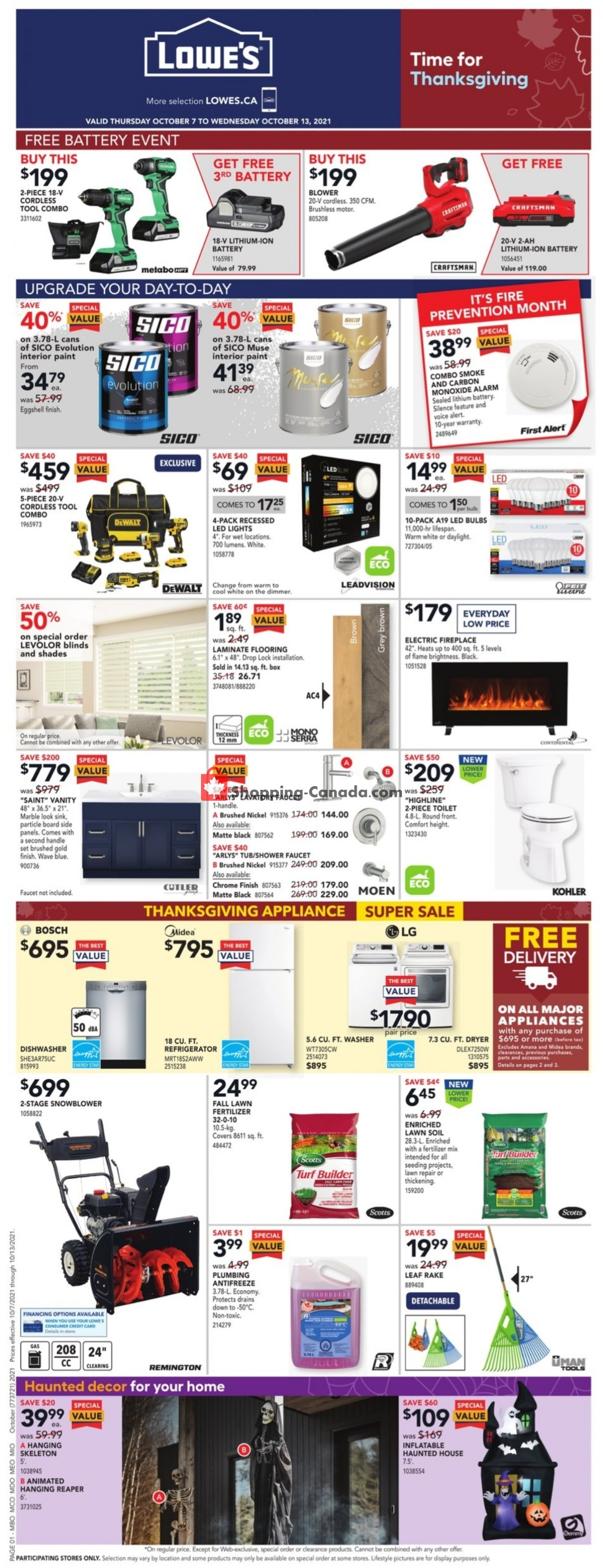 Flyer Lowe's Canada - from Thursday October 7, 2021 to Wednesday October 13, 2021