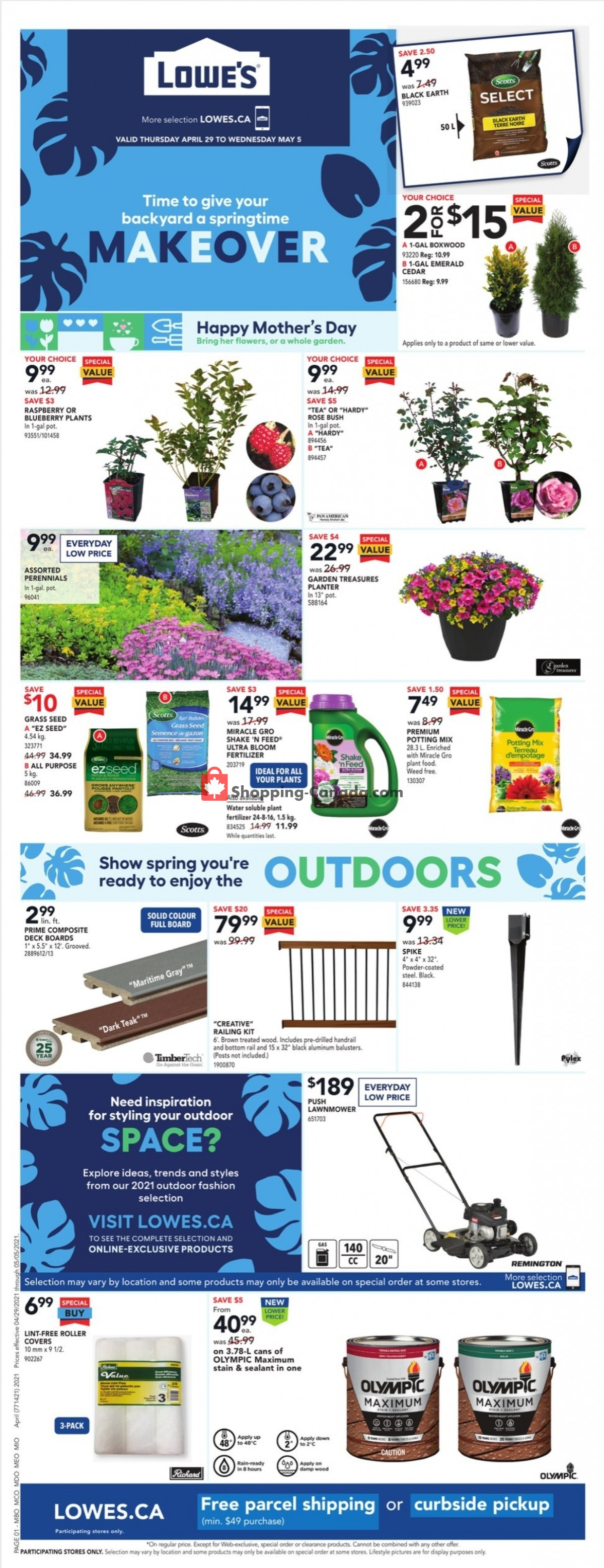 Flyer Lowe's Canada - from Thursday April 29, 2021 to Wednesday May 5, 2021