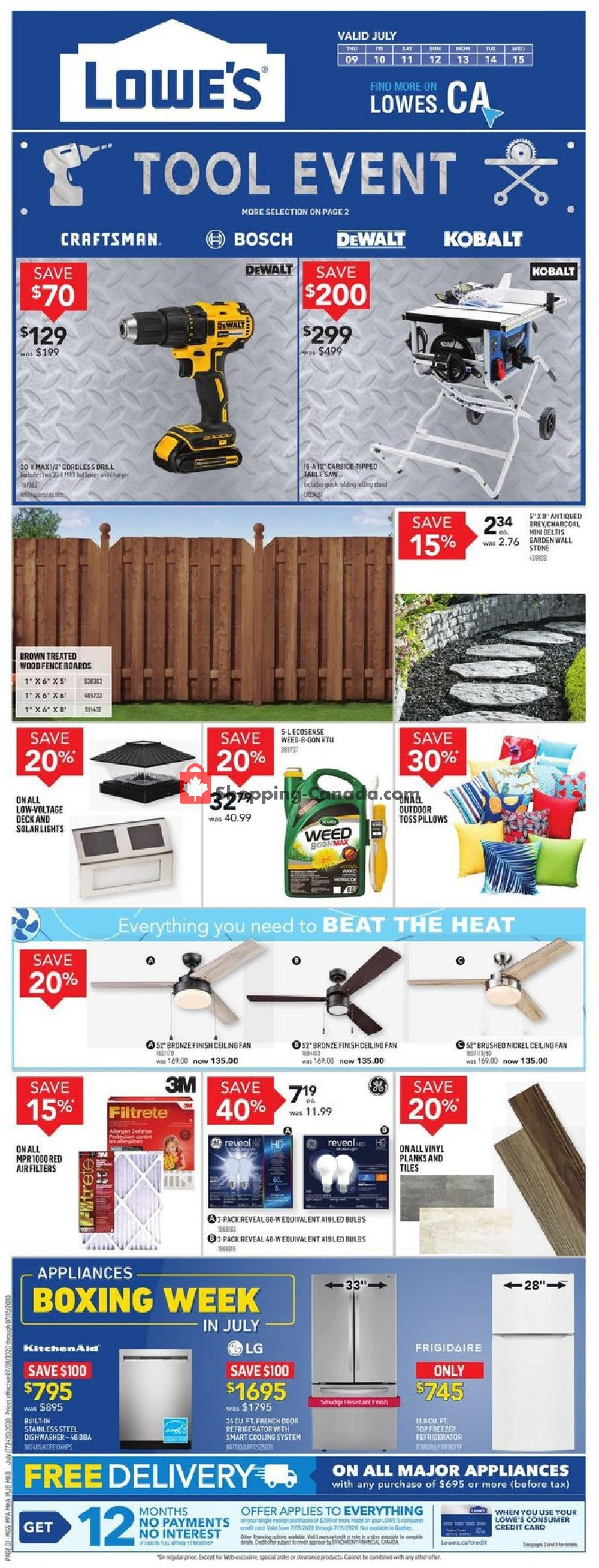 Flyer Lowe's Canada - from Thursday July 9, 2020 to Wednesday July 15, 2020